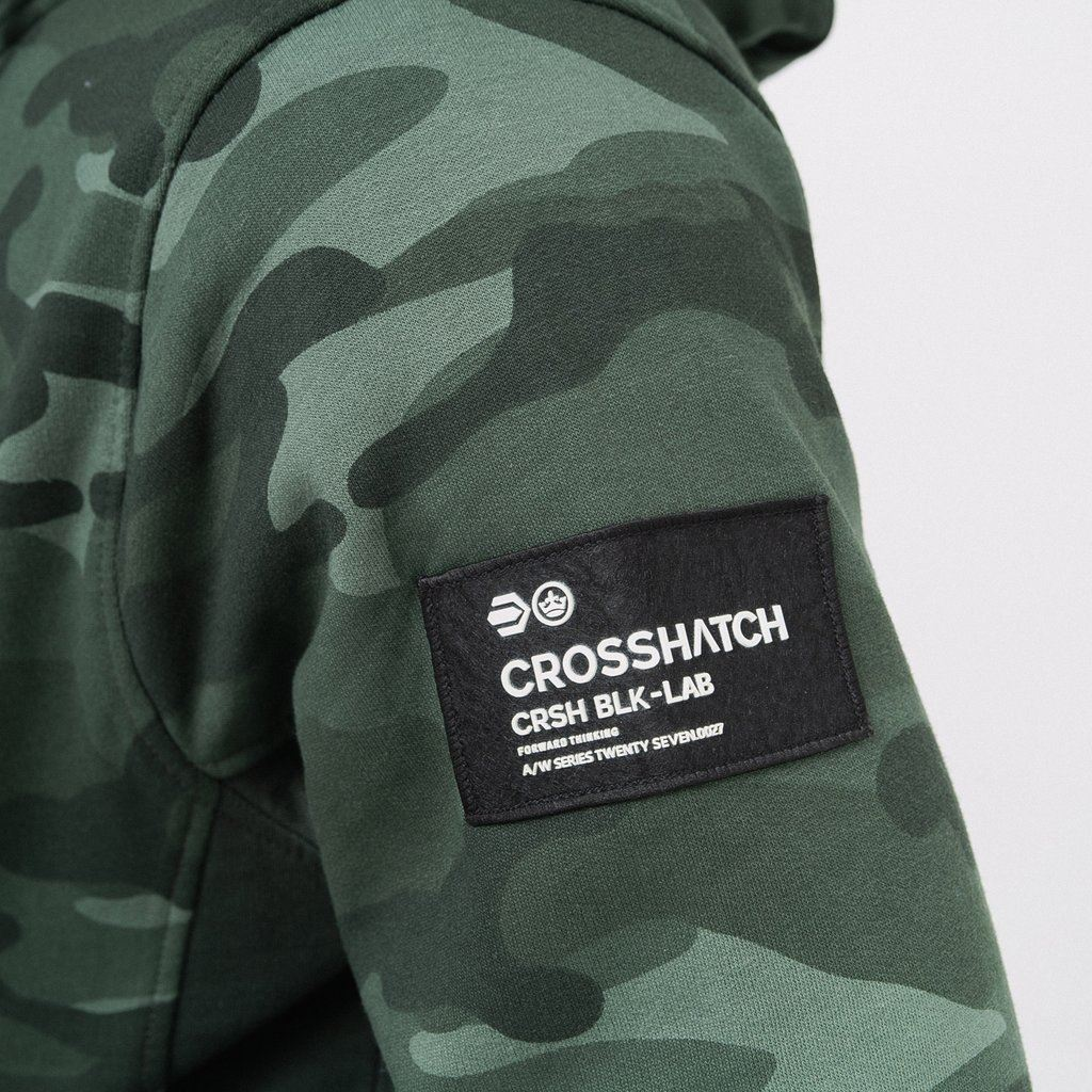 Mens-Hoodie-Crosshatch-Camo-Sweatshirt-Full-Zip-Hooded-Jumper-Top-Pullover-JAGA thumbnail 7