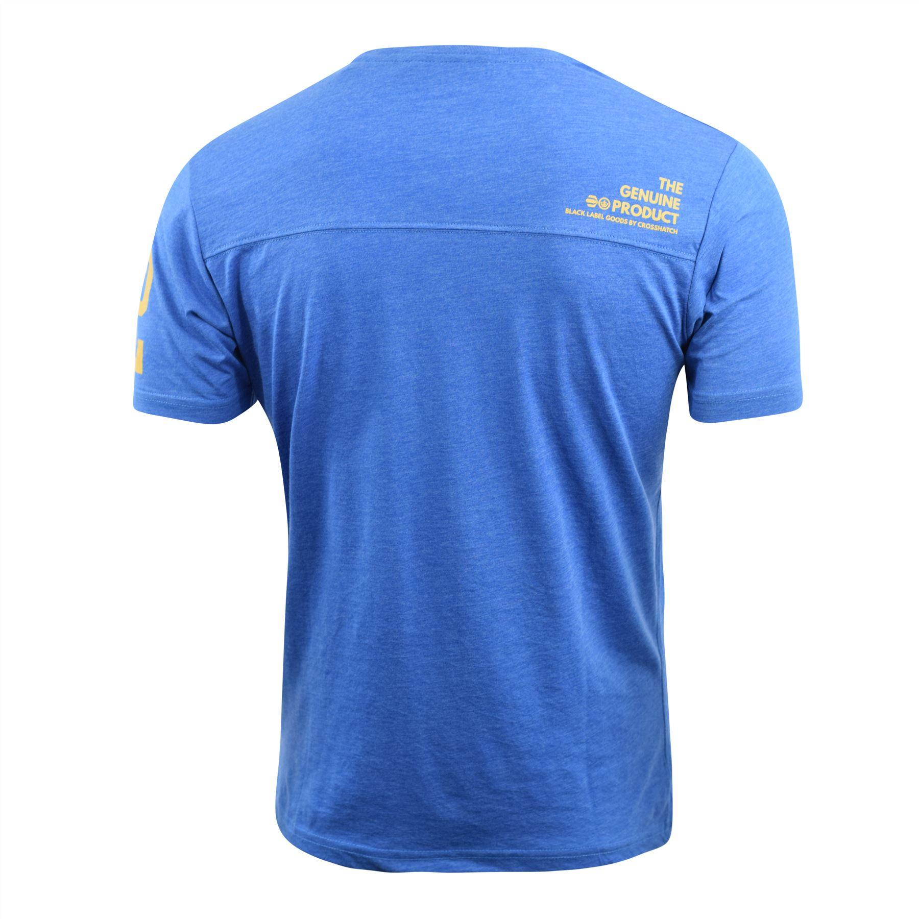 Mens-Crosshatch-T-Shirt-Contrast-Short-Sleeve-Tee-Top-Penycoat thumbnail 4