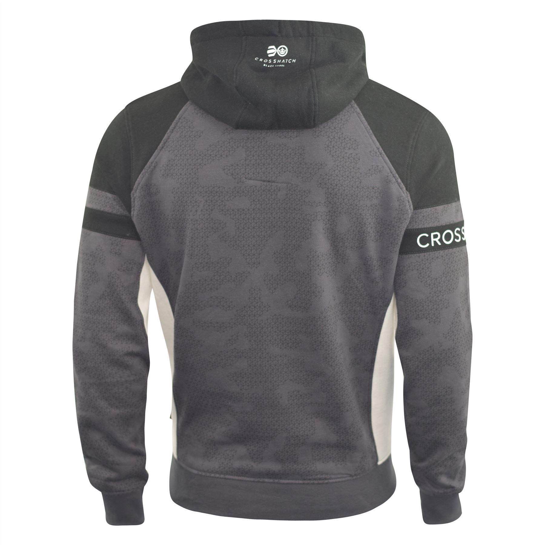 Mens-Hoodie-Crosshatch-Sweatshirt-Hooded-Jumper-Top-Pullover-Kirknewton thumbnail 4