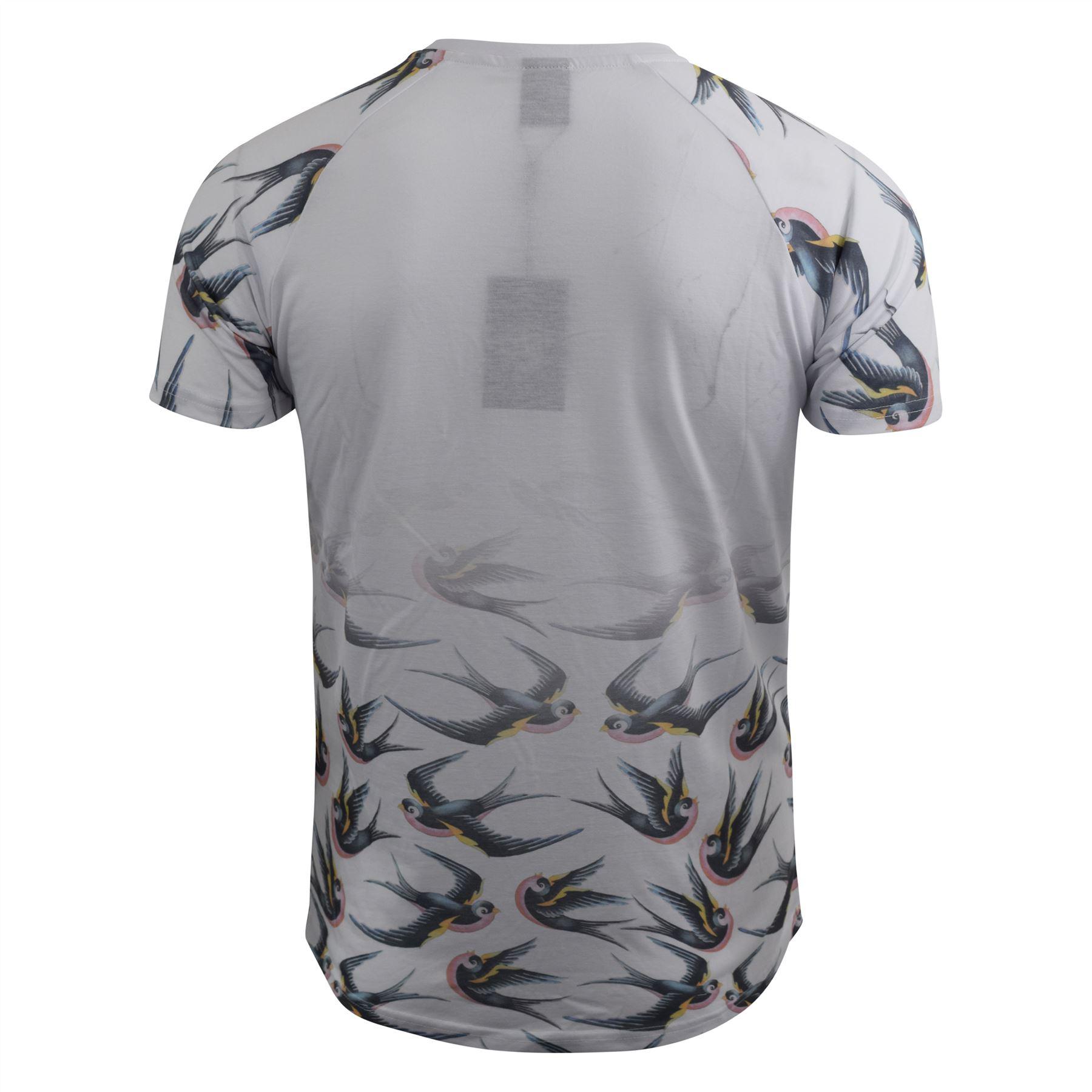 Mens-T-Shirt-Crosshatch-Short-Sleeved-Raglan-Print-Tee-Top-Averys thumbnail 5