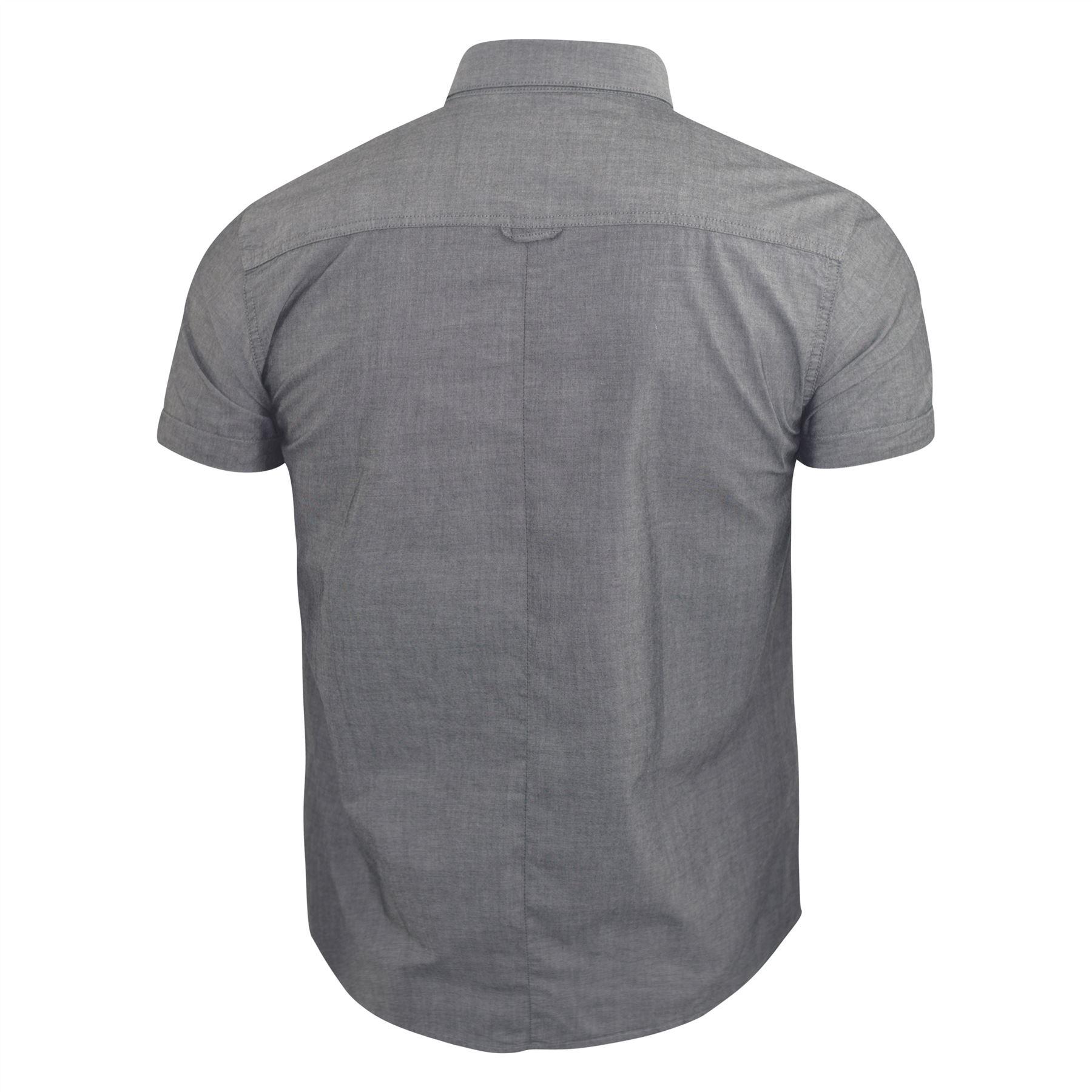 Mens-Plain-Shirt-Henthorn-Short-Sleeved-Cotton-Blend-Casual-Top thumbnail 3