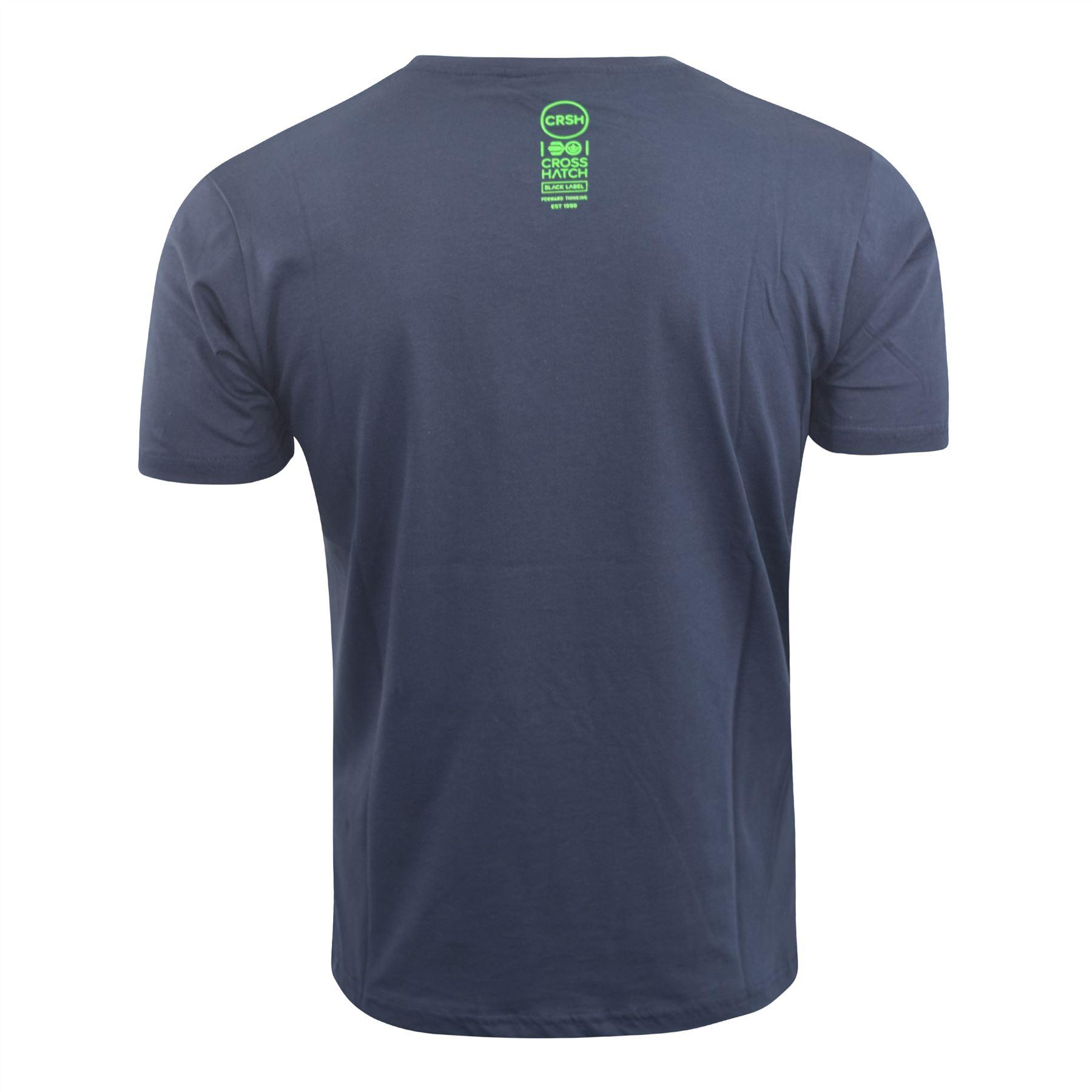 Mens-Crosshatch-T-Shirt-Graphic-Crew-Neck-Tee-Top-Kaeffmore thumbnail 7