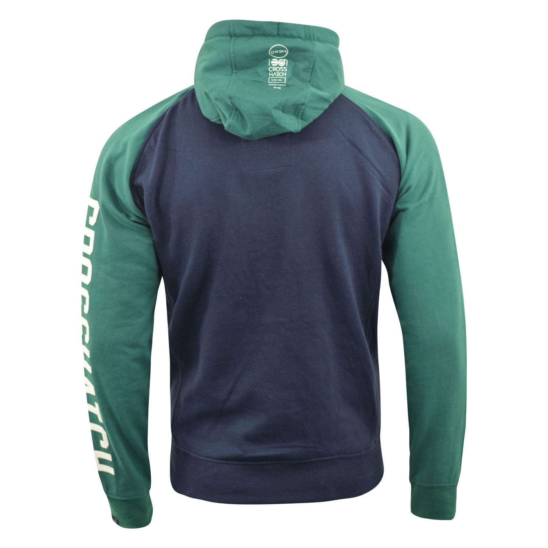 Mens-Hoodie-Crosshatch-Sweatshirt-Hooded-Jumper-Top-Pullover-TEMPTONS thumbnail 4