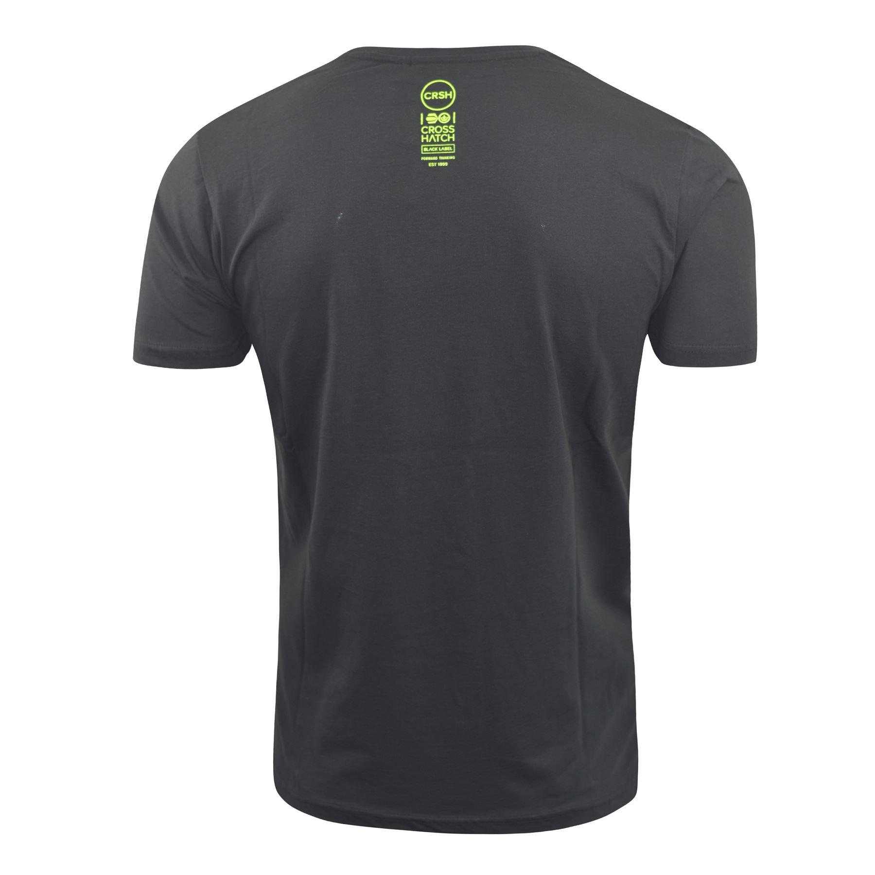 Mens-Crosshatch-T-Shirt-Graphic-Crew-Neck-Tee-Top-Kaeffmore thumbnail 4