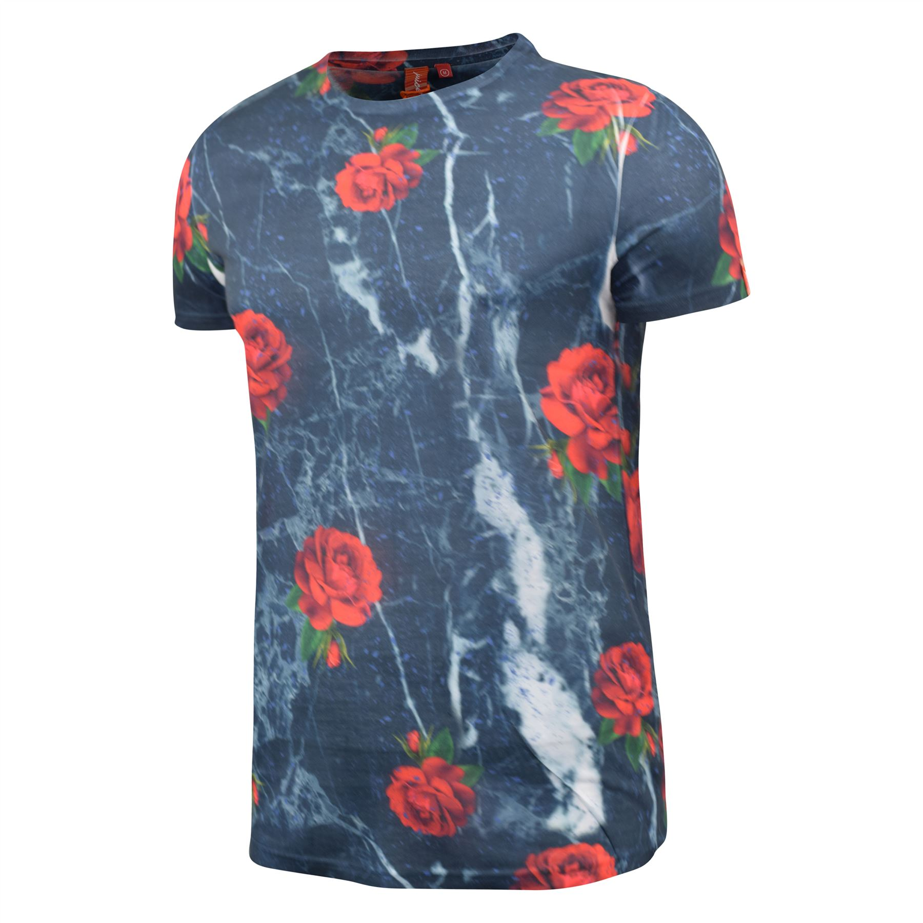 Mens-T-Shirt-Juice-Floral-Print-Flower-Crew-Neck-Tee-Top thumbnail 15