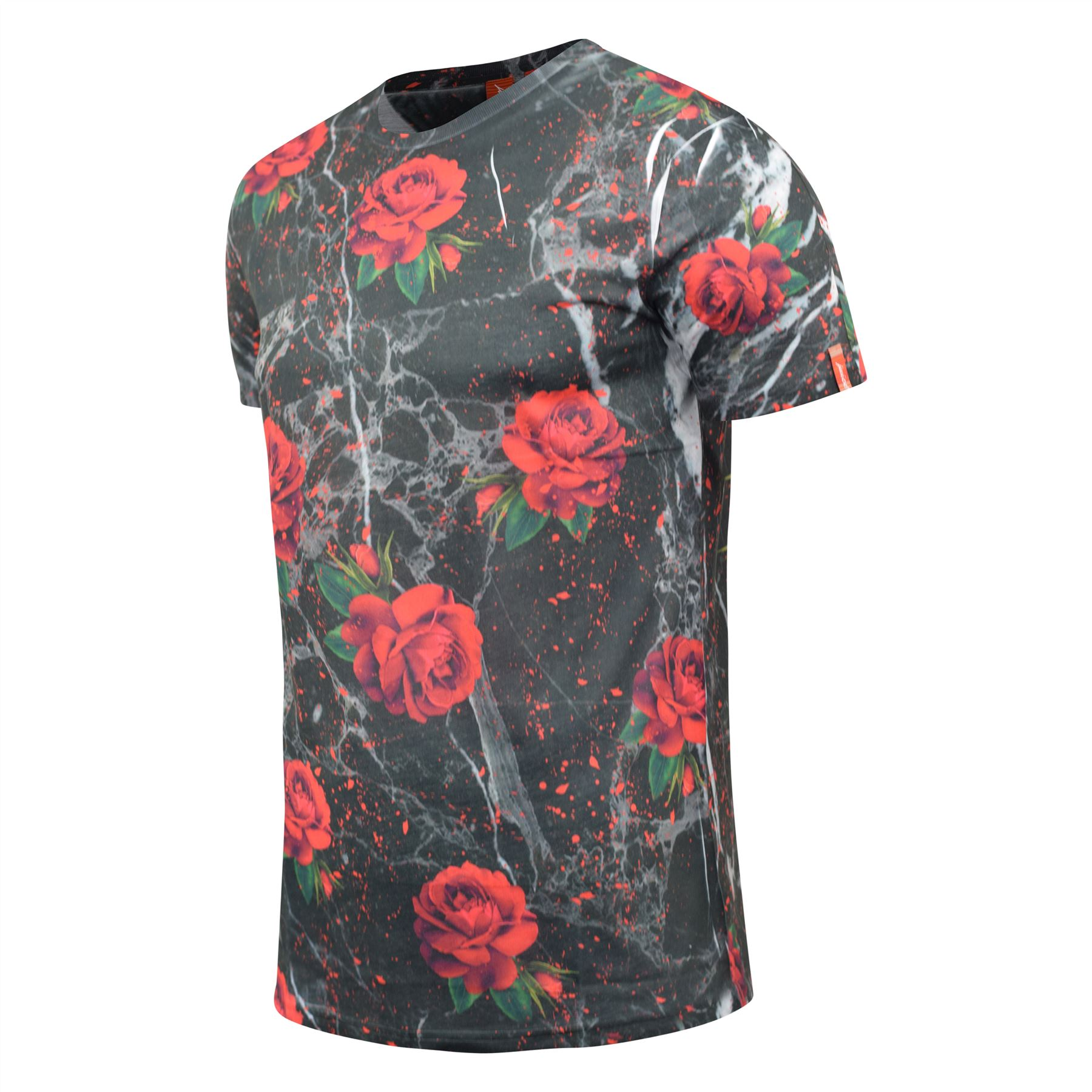 Mens-T-Shirt-Juice-Floral-Print-Flower-Crew-Neck-Tee-Top thumbnail 12