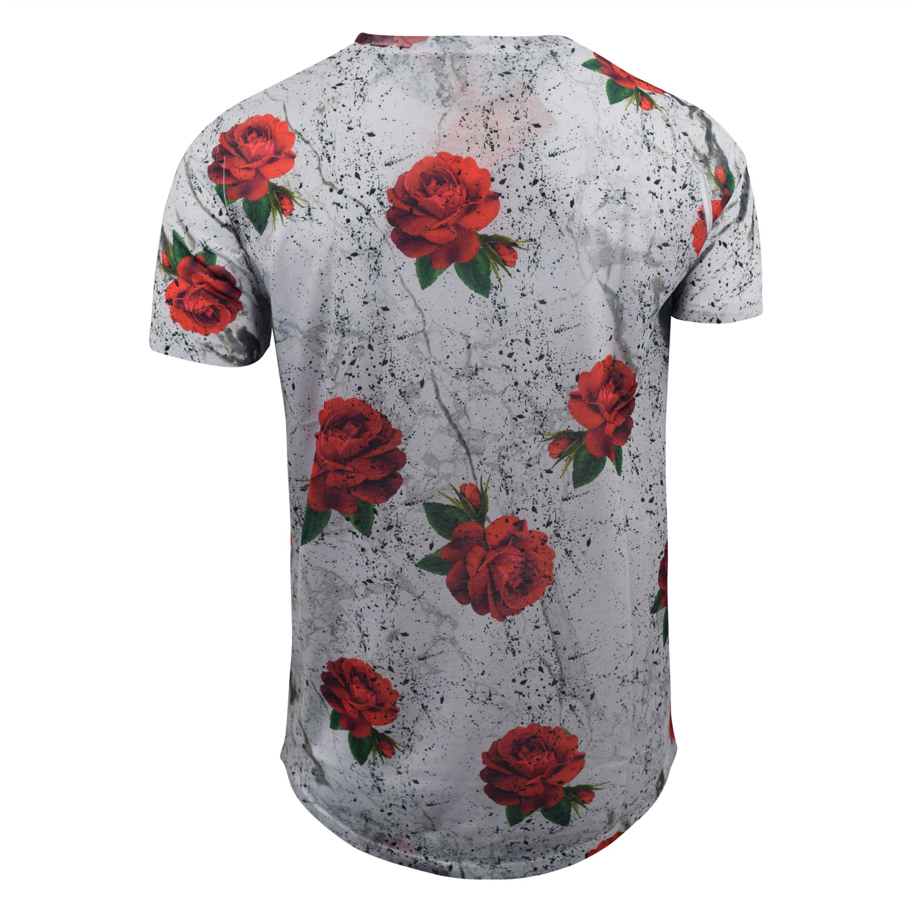 Mens-T-Shirt-Juice-Floral-Print-Flower-Crew-Neck-Tee-Top thumbnail 10