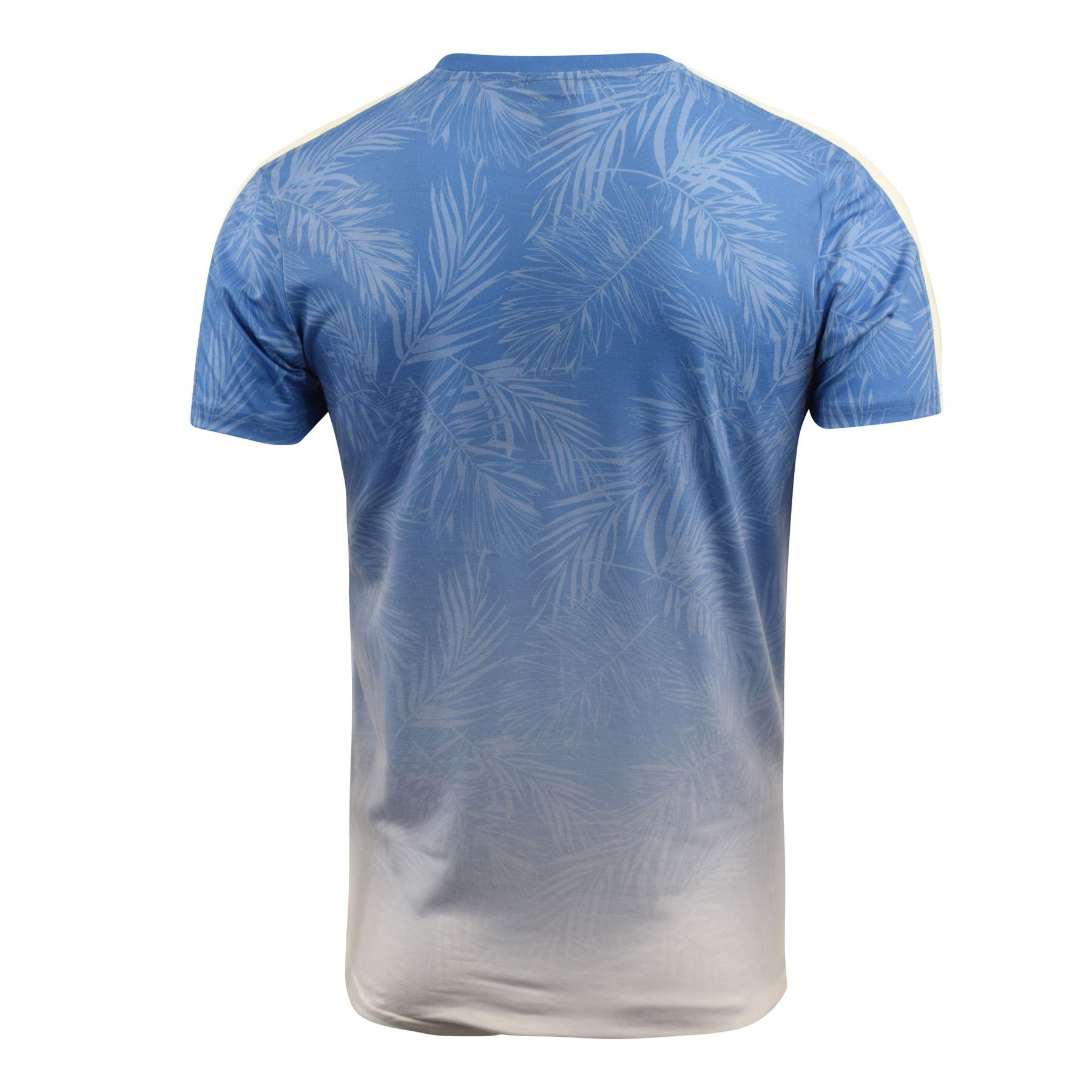 Mens-Crosshatch-T-Shirt-Contrast-Short-Sleeve-Tee-Top-Salifornia thumbnail 6