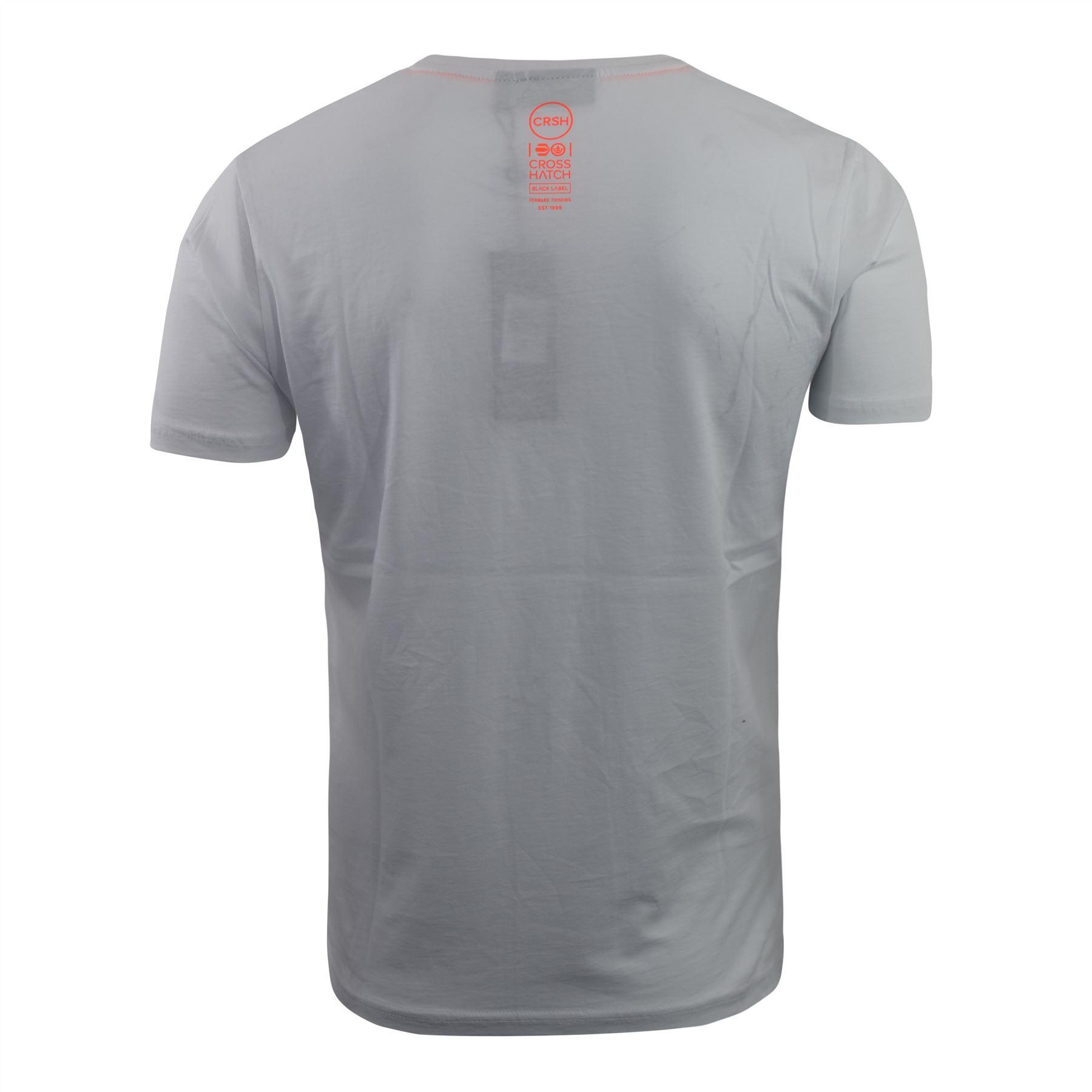 Mens-Crosshatch-T-Shirt-Graphic-Crew-Neck-Tee-Top-Kaeffmore thumbnail 10