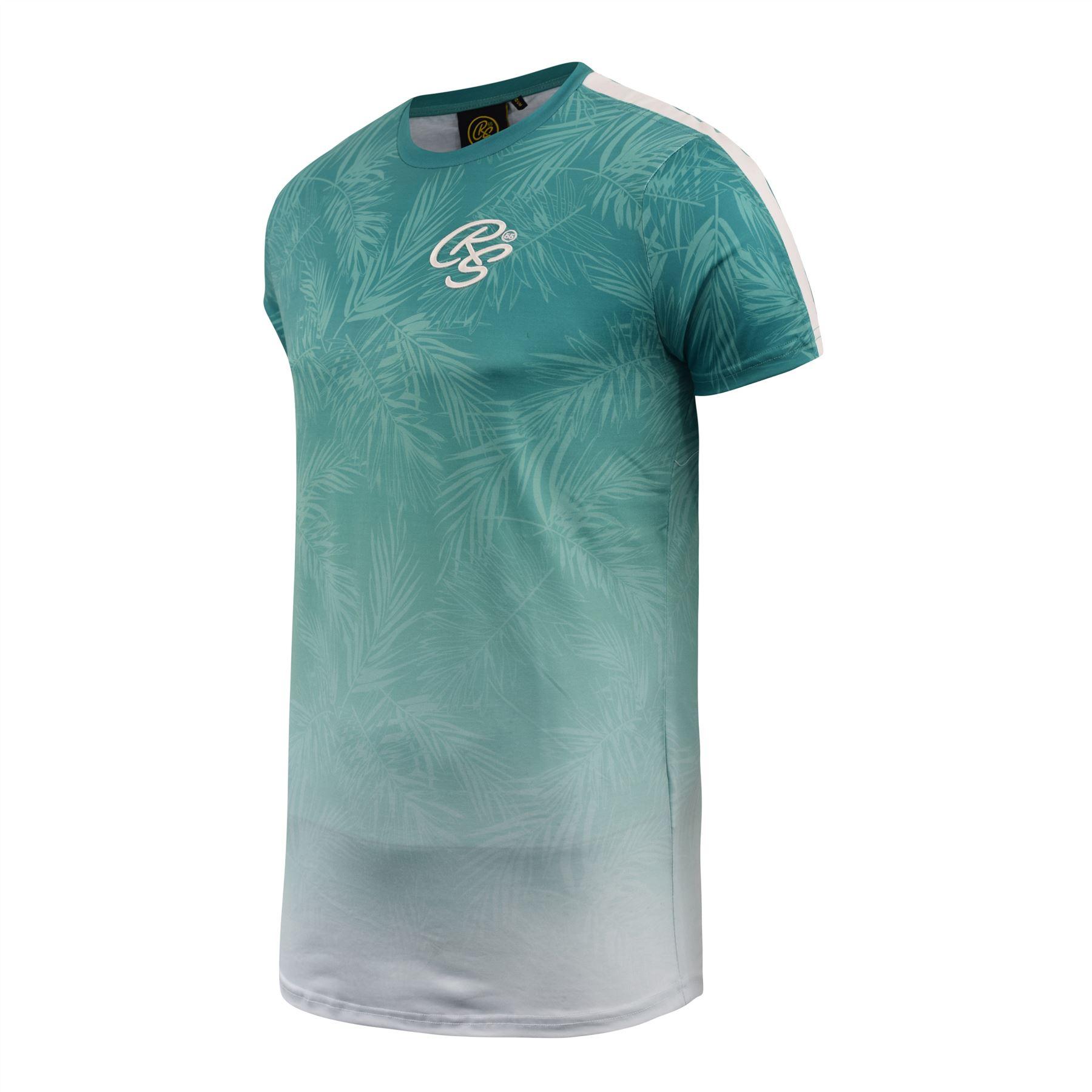 Mens-Crosshatch-T-Shirt-Contrast-Short-Sleeve-Tee-Top-Salifornia thumbnail 3