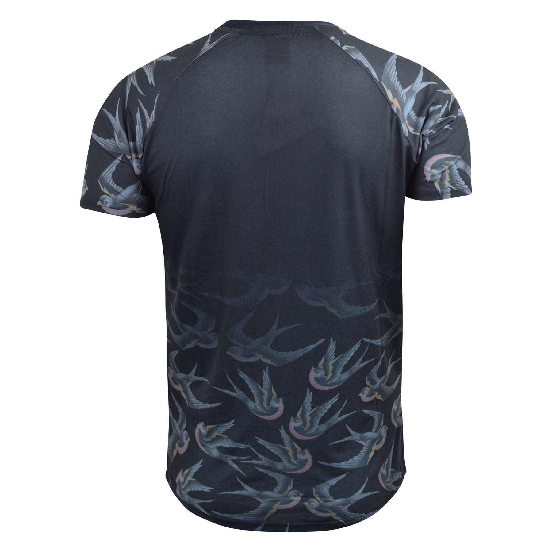 Mens-T-Shirt-Crosshatch-Short-Sleeved-Raglan-Print-Tee-Top-Averys thumbnail 3