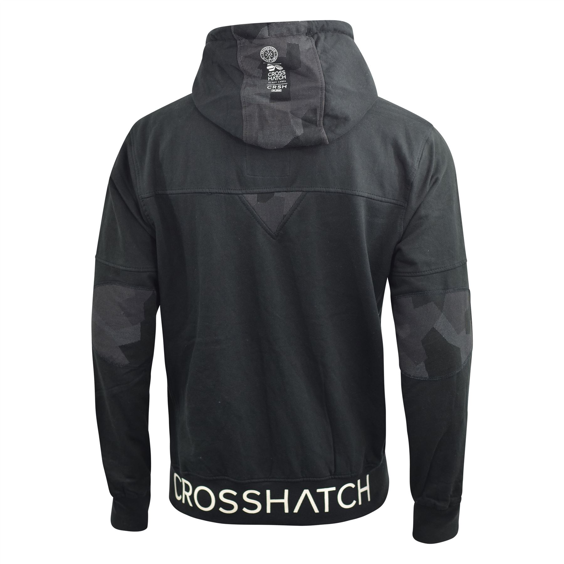 Mens-Hoodie-Crosshatch-Full-Zip-Sweatshirt-Hooded-Jumper-Top-Pullover-Radzim thumbnail 7