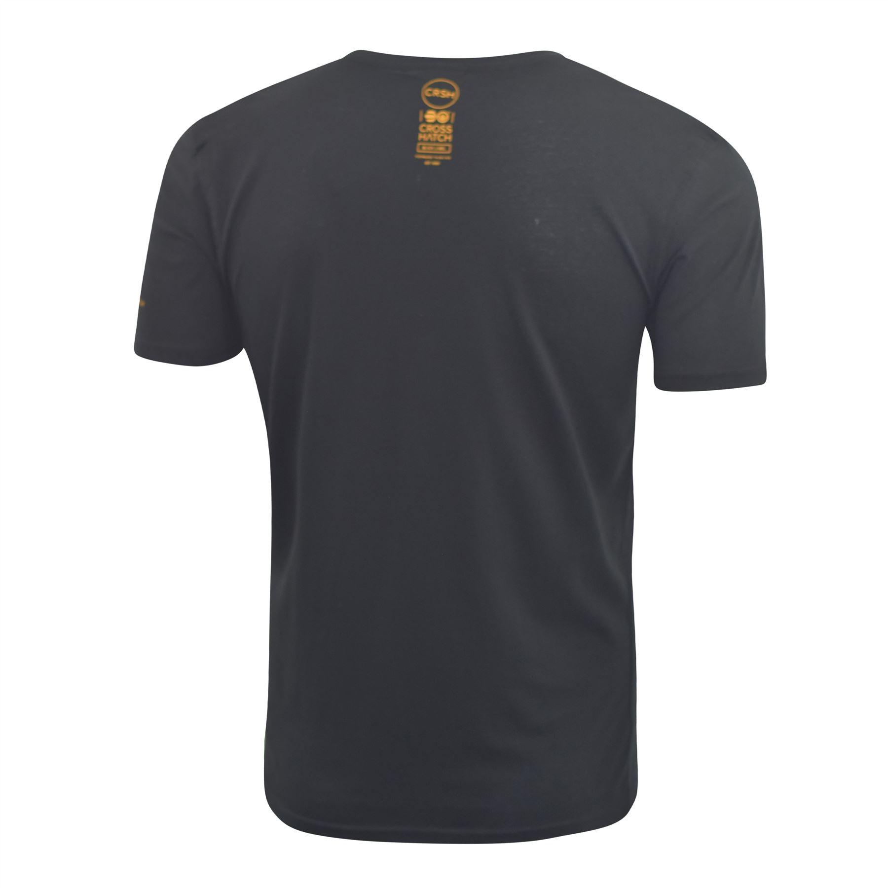 Mens-Crosshatch-T-shirt-Contrast-Graphic-Print-Top-Tee-Westfan thumbnail 4