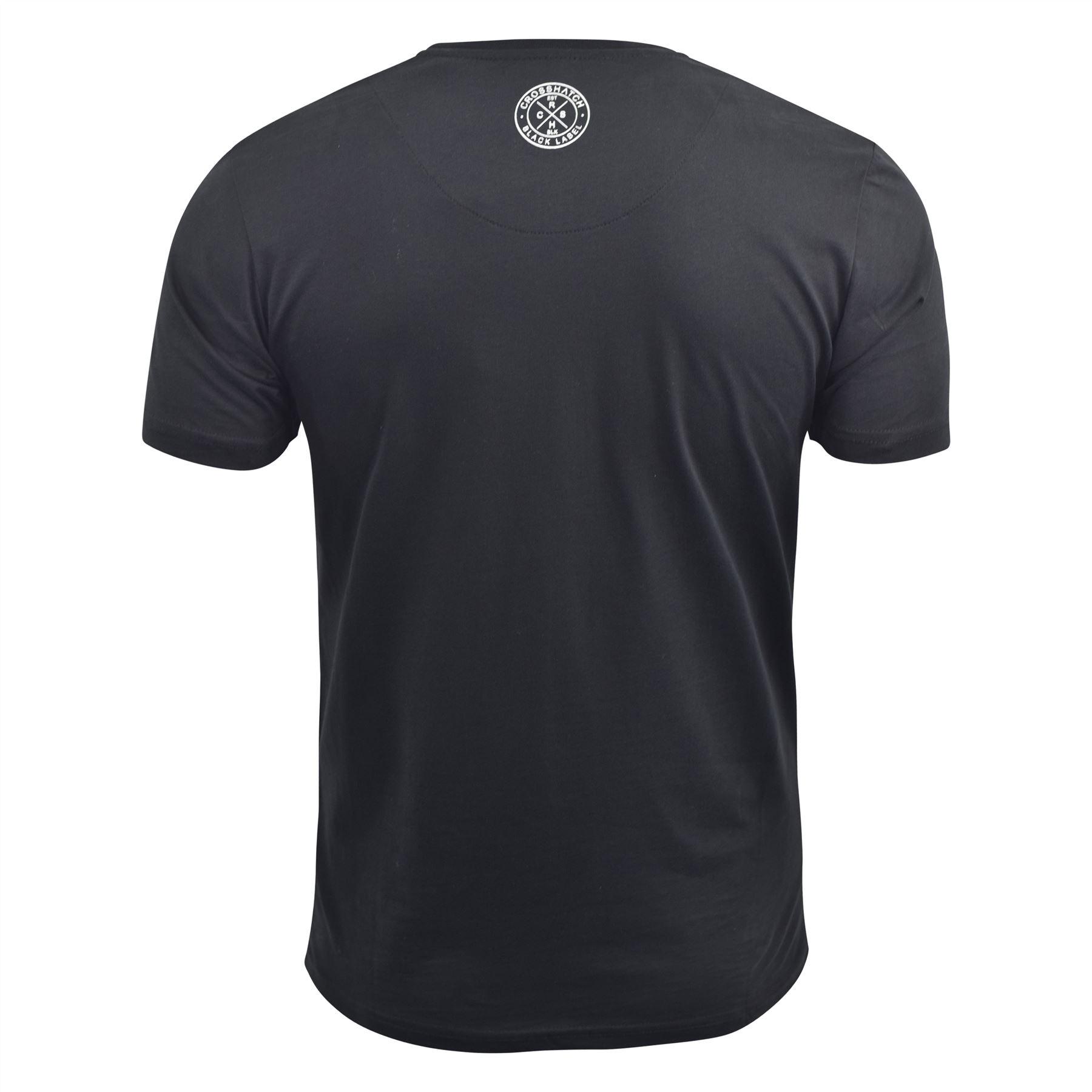 Para-Hombre-Crosshatch-Camiseta-Grafico-Cuello-Redondo-Manga-Corta-Camiseta-Top-wolvey miniatura 3