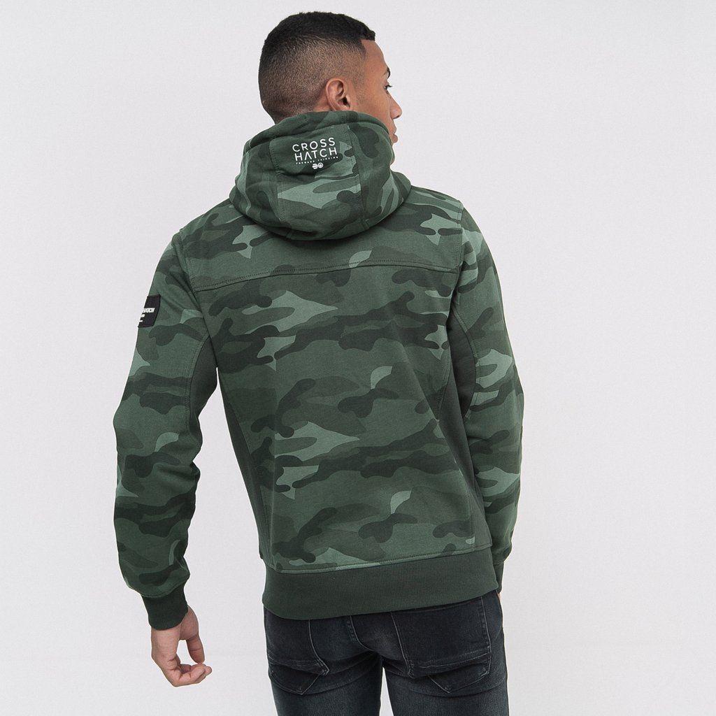 Mens-Hoodie-Crosshatch-Camo-Sweatshirt-Full-Zip-Hooded-Jumper-Top-Pullover-JAGA thumbnail 6