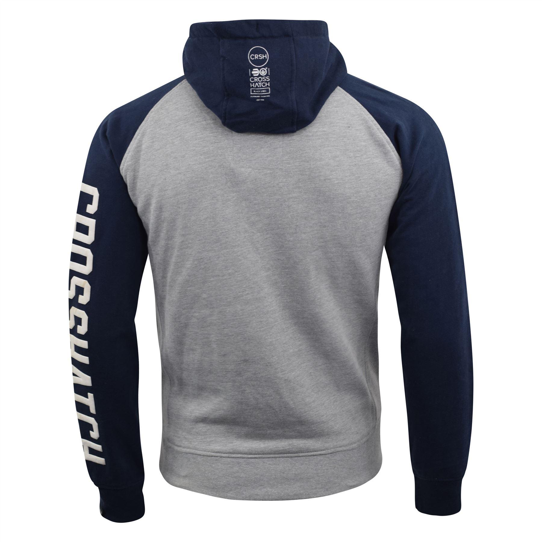 Mens-Hoodie-Crosshatch-Sweatshirt-Hooded-Jumper-Top-Pullover-TEMPTONS thumbnail 7