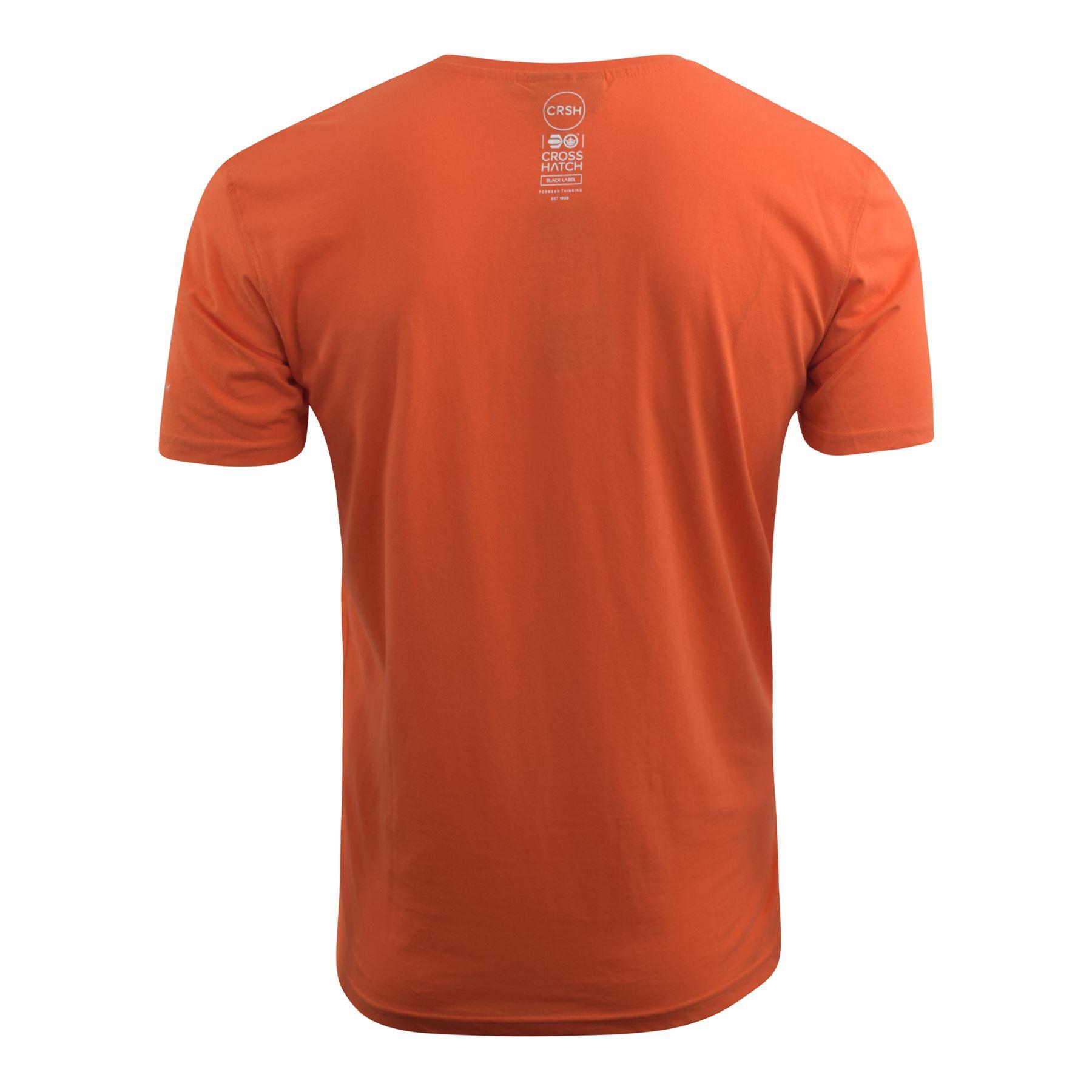 Mens-Crosshatch-T-shirt-Contrast-Graphic-Print-Top-Tee-Westfan thumbnail 7