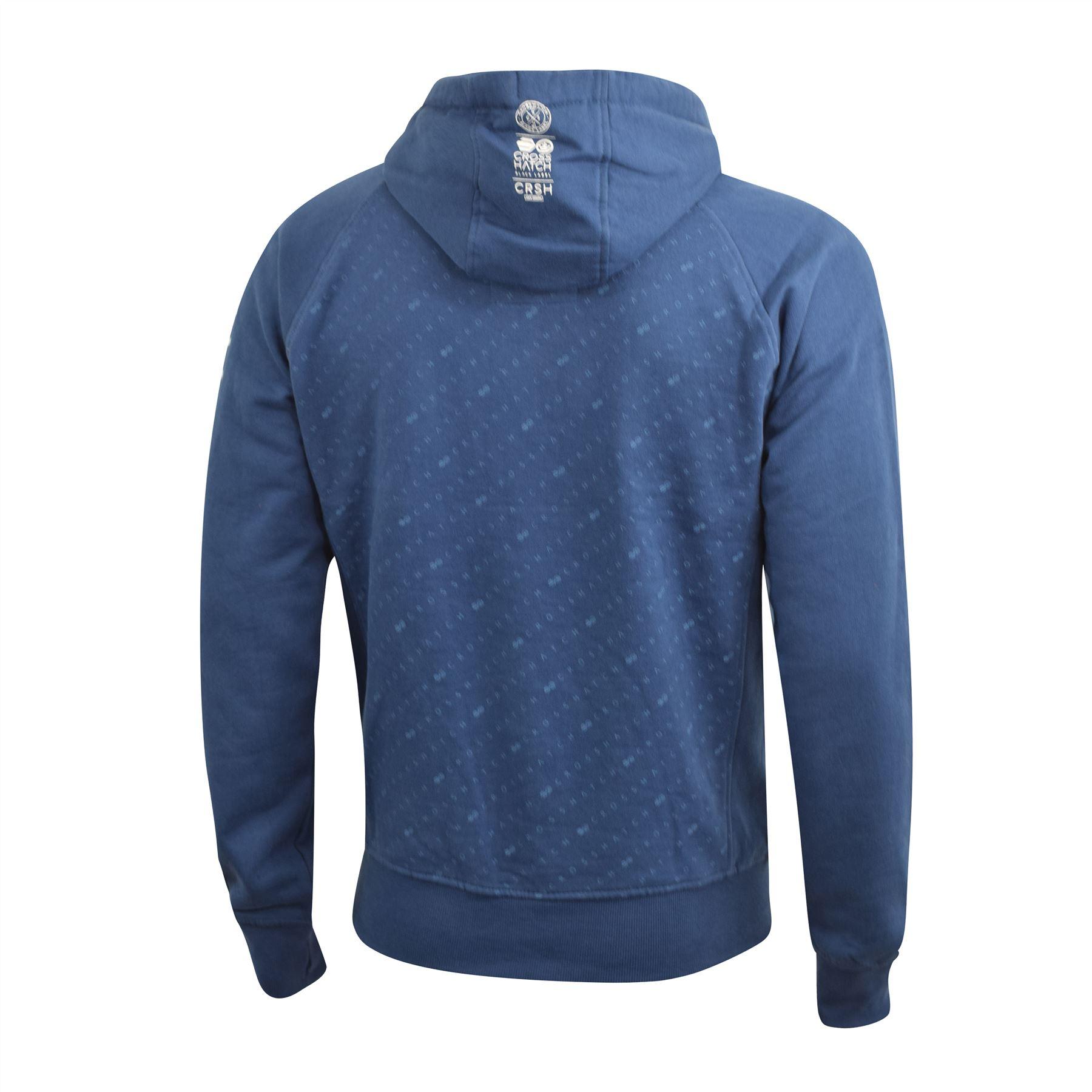 Mens-Hoodie-Crosshatch-Pullover-Degas-Hooded-Sweater-Jumper thumbnail 8