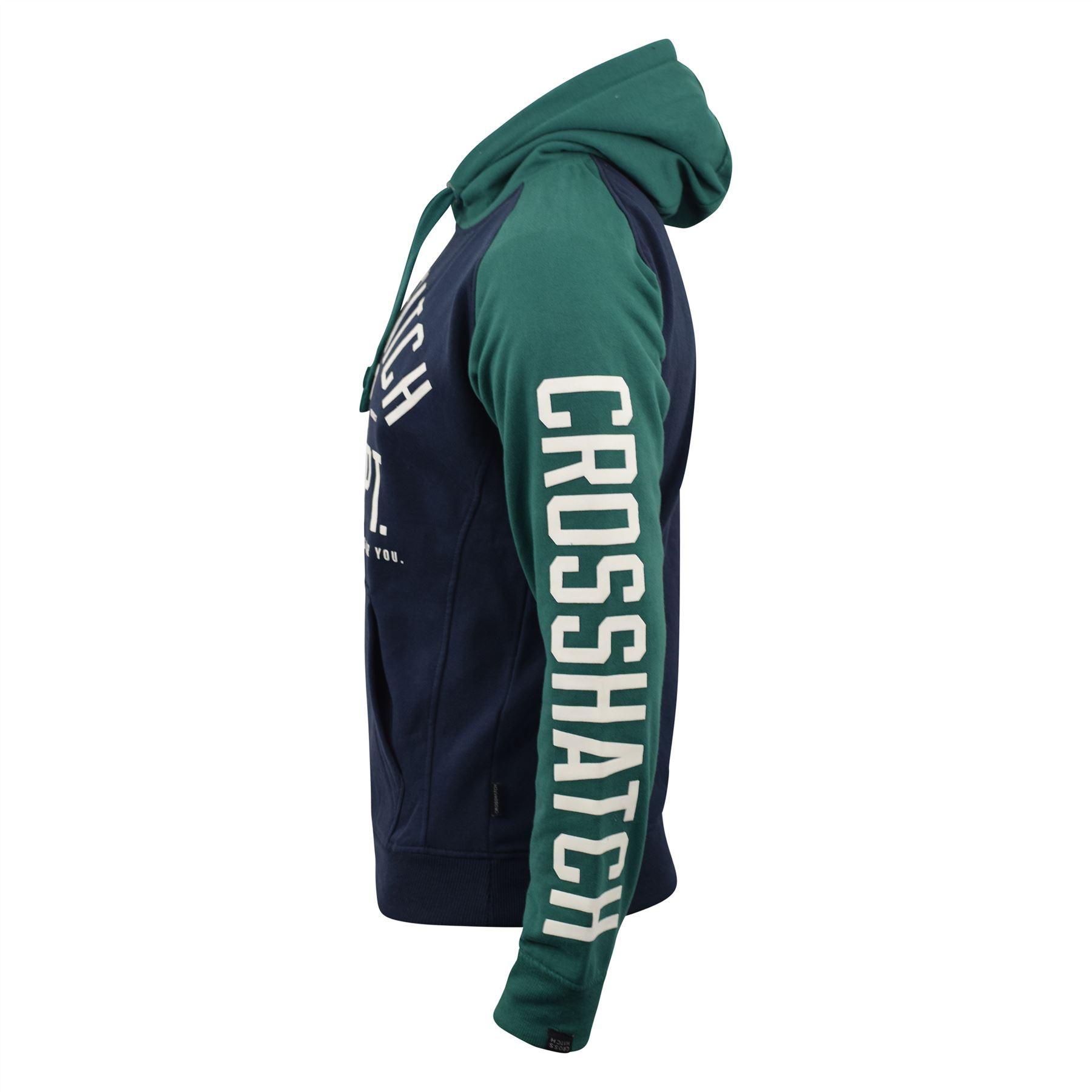 Mens-Hoodie-Crosshatch-Sweatshirt-Hooded-Jumper-Top-Pullover-TEMPTONS thumbnail 3