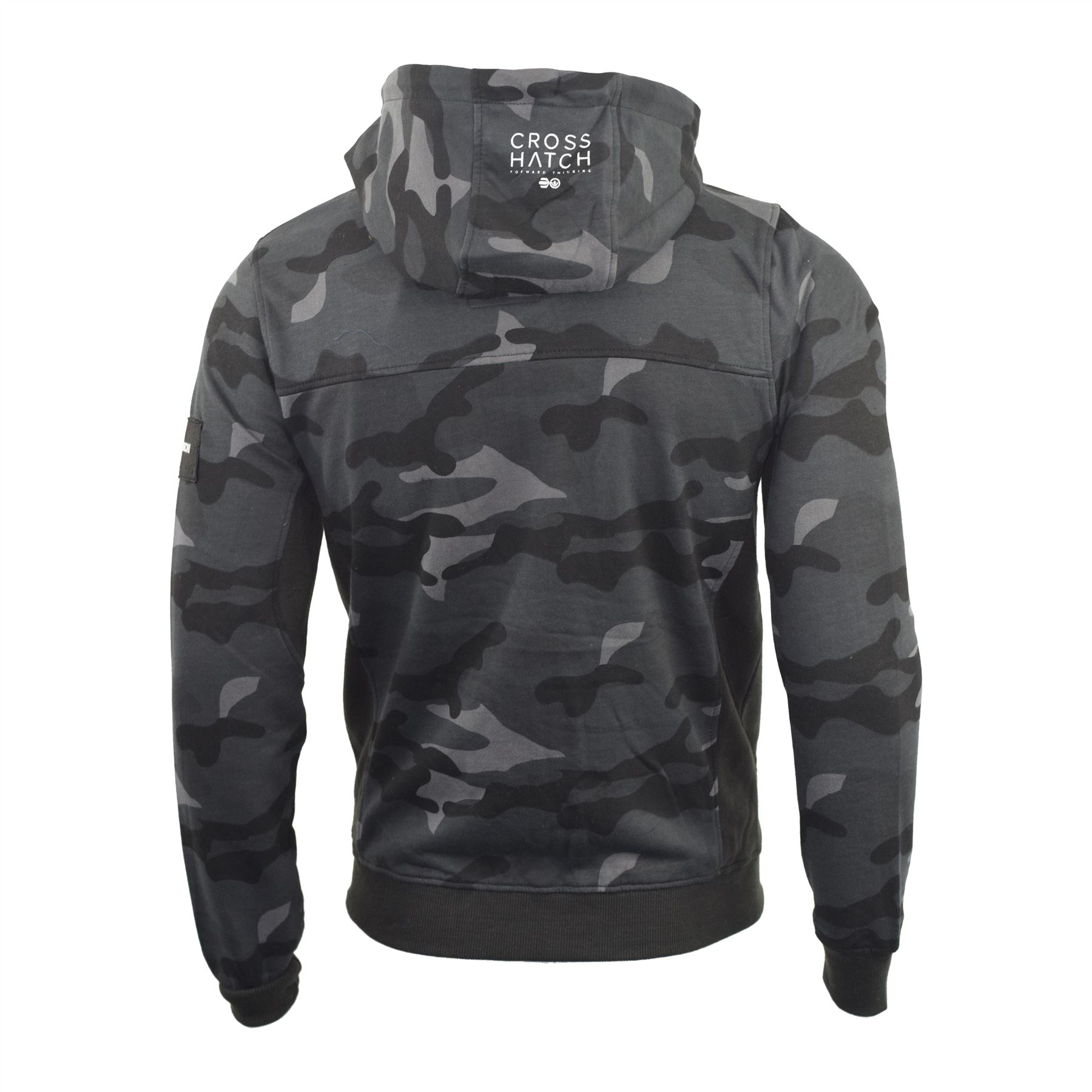 Mens-Hoodie-Crosshatch-Camo-Sweatshirt-Full-Zip-Hooded-Jumper-Top-Pullover-JAGA thumbnail 4