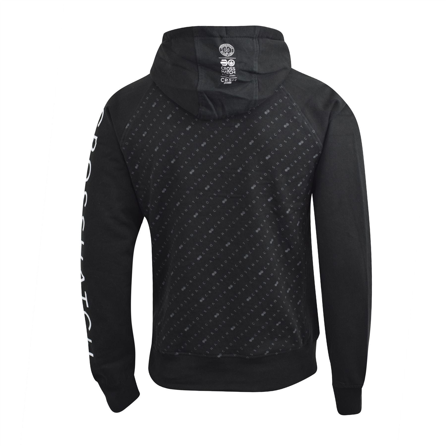 Mens-Hoodie-Crosshatch-Pullover-Degas-Hooded-Sweater-Jumper thumbnail 6