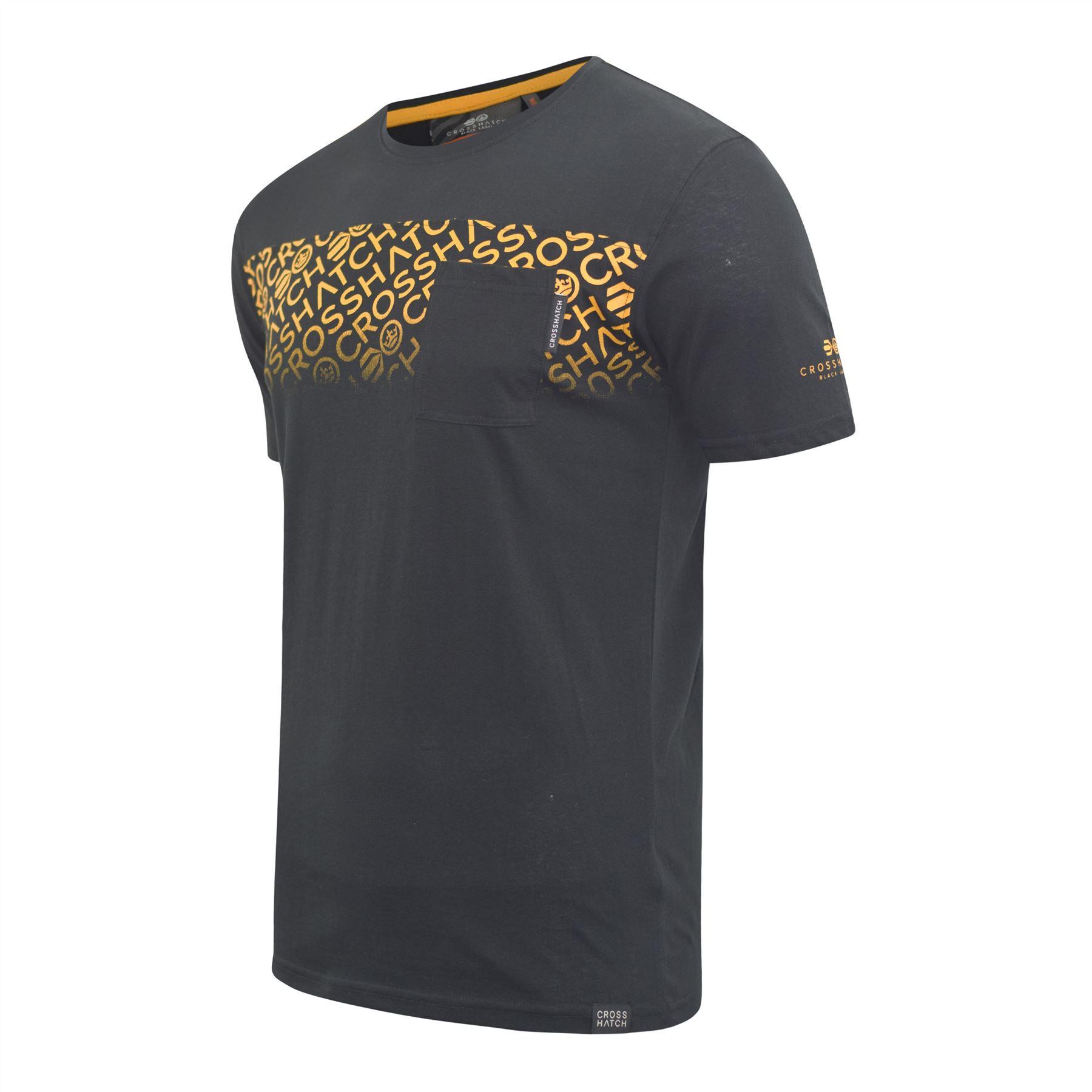 Mens-Crosshatch-T-shirt-Contrast-Graphic-Print-Top-Tee-Westfan thumbnail 3