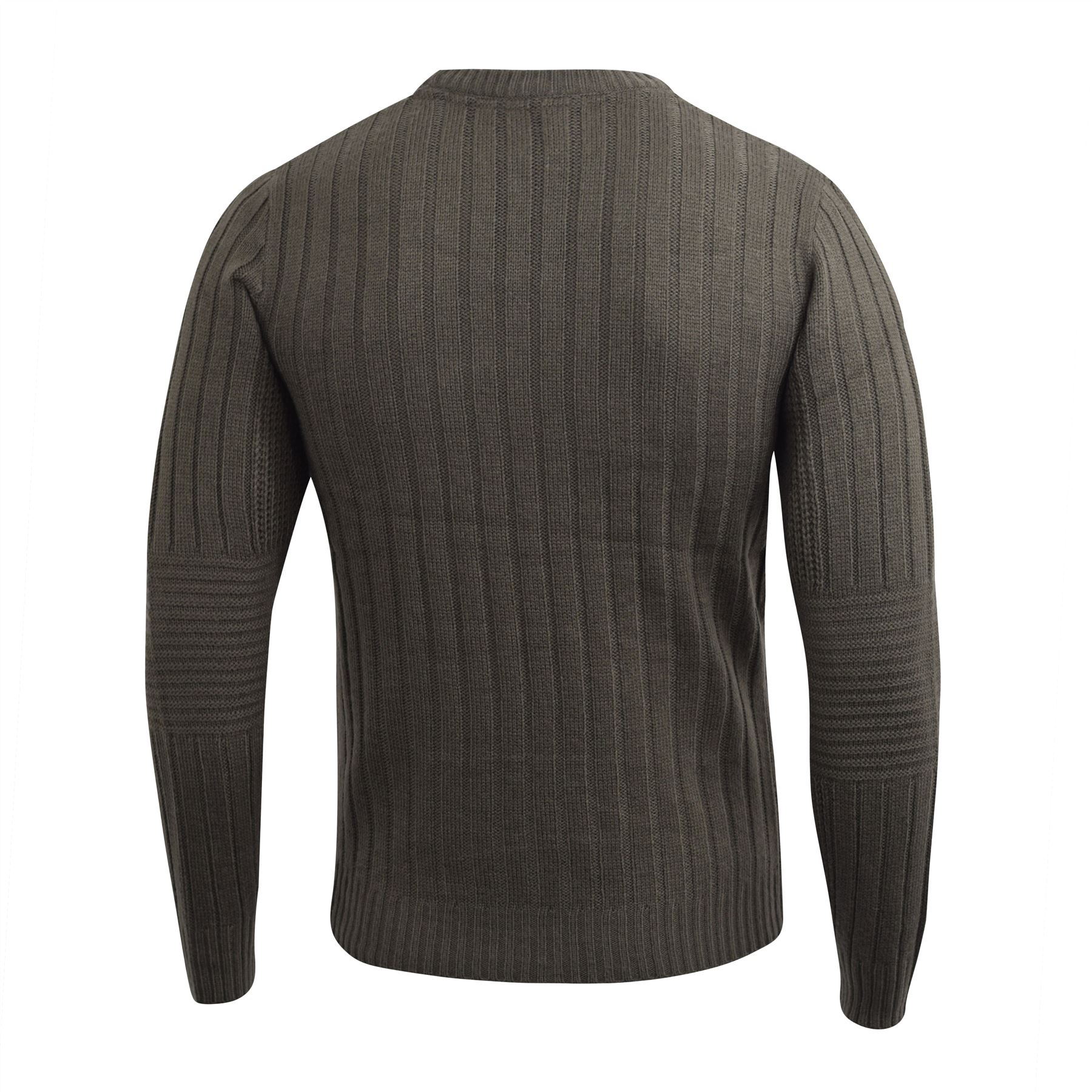 Mens-Knitwear-Crosshatch-Sweater-Textured-Knitted-Jumper thumbnail 7