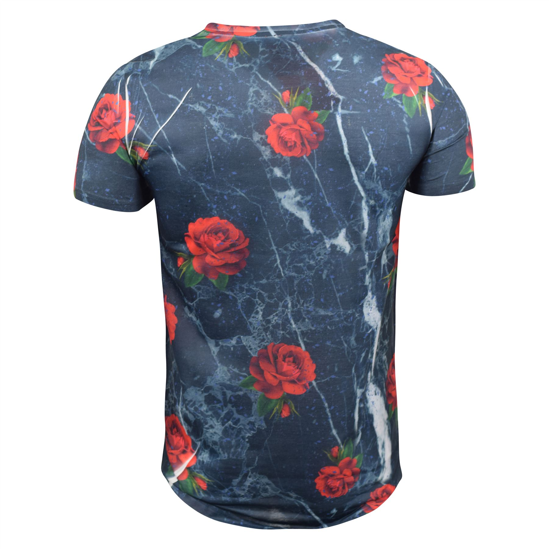 Mens-T-Shirt-Juice-Floral-Print-Flower-Crew-Neck-Tee-Top thumbnail 16