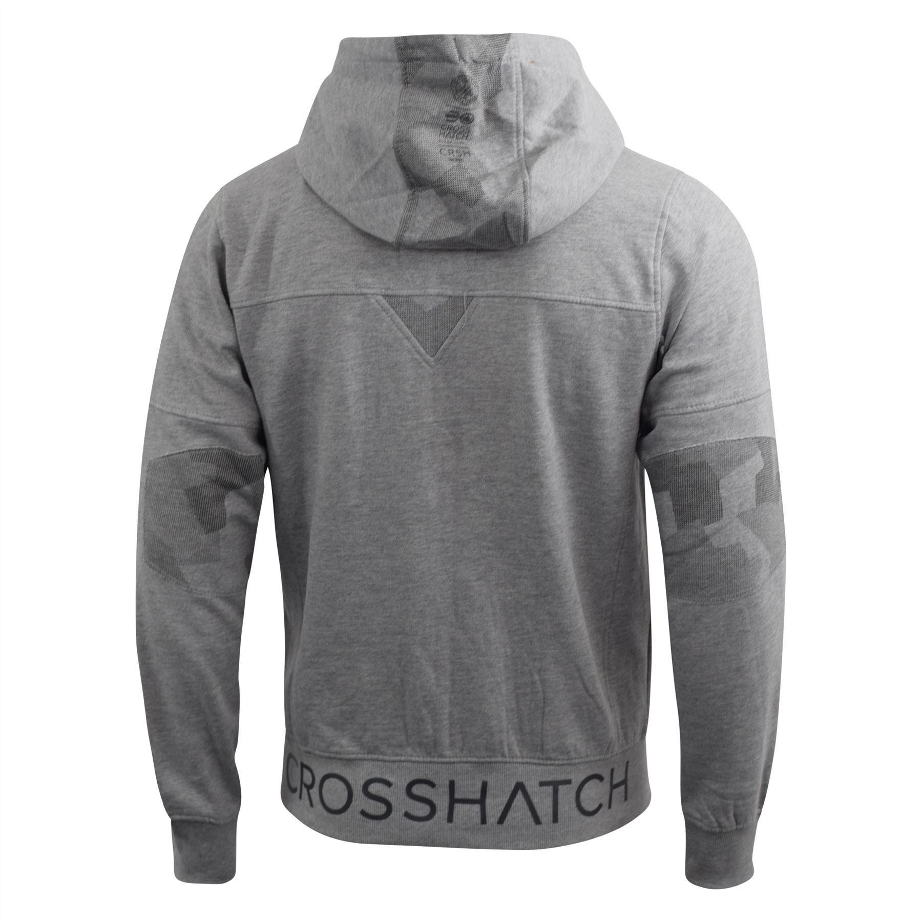 Mens-Hoodie-Crosshatch-Full-Zip-Sweatshirt-Hooded-Jumper-Top-Pullover-Radzim thumbnail 10