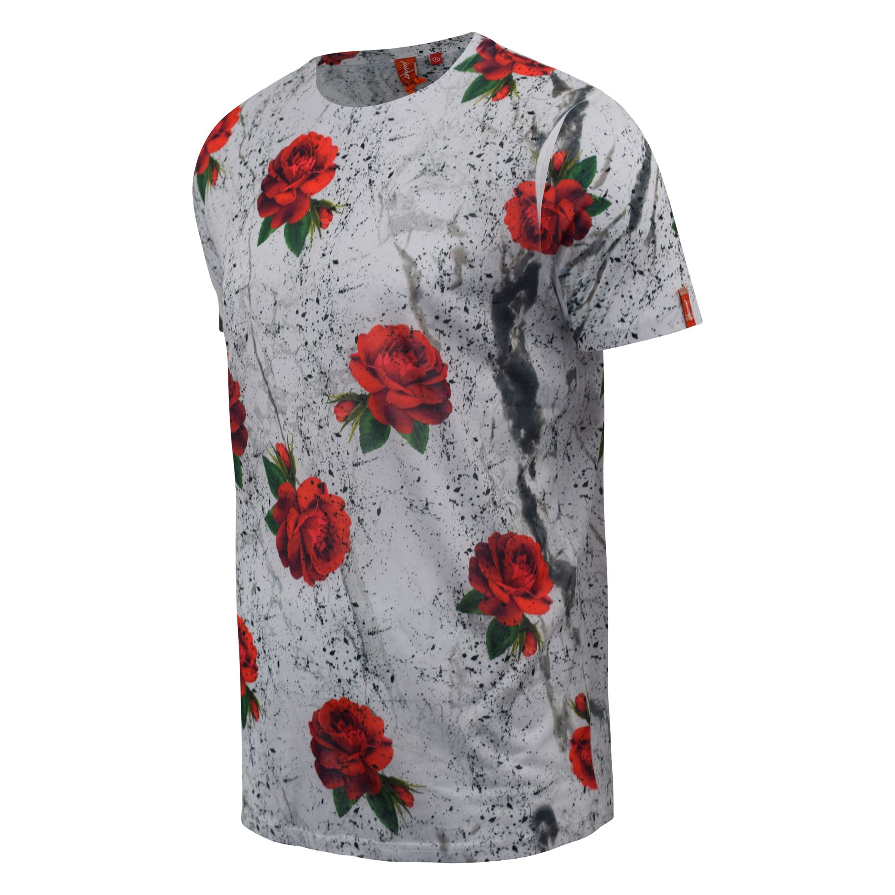 Mens-T-Shirt-Juice-Floral-Print-Flower-Crew-Neck-Tee-Top thumbnail 9