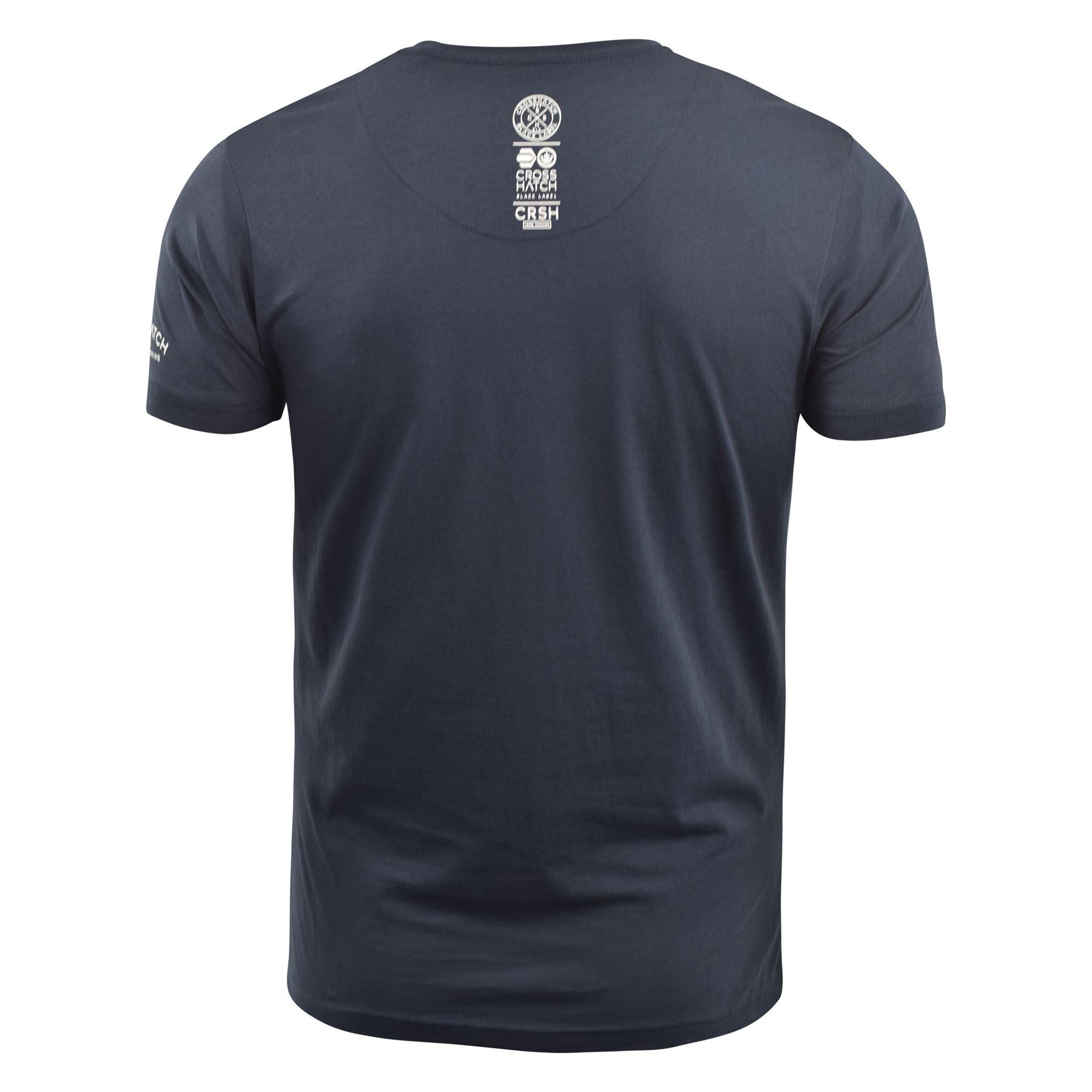Mens-T-Shirt-Crosshatch-Short-Sleeve-Crew-Neck-Graphic-Tee-Top thumbnail 9