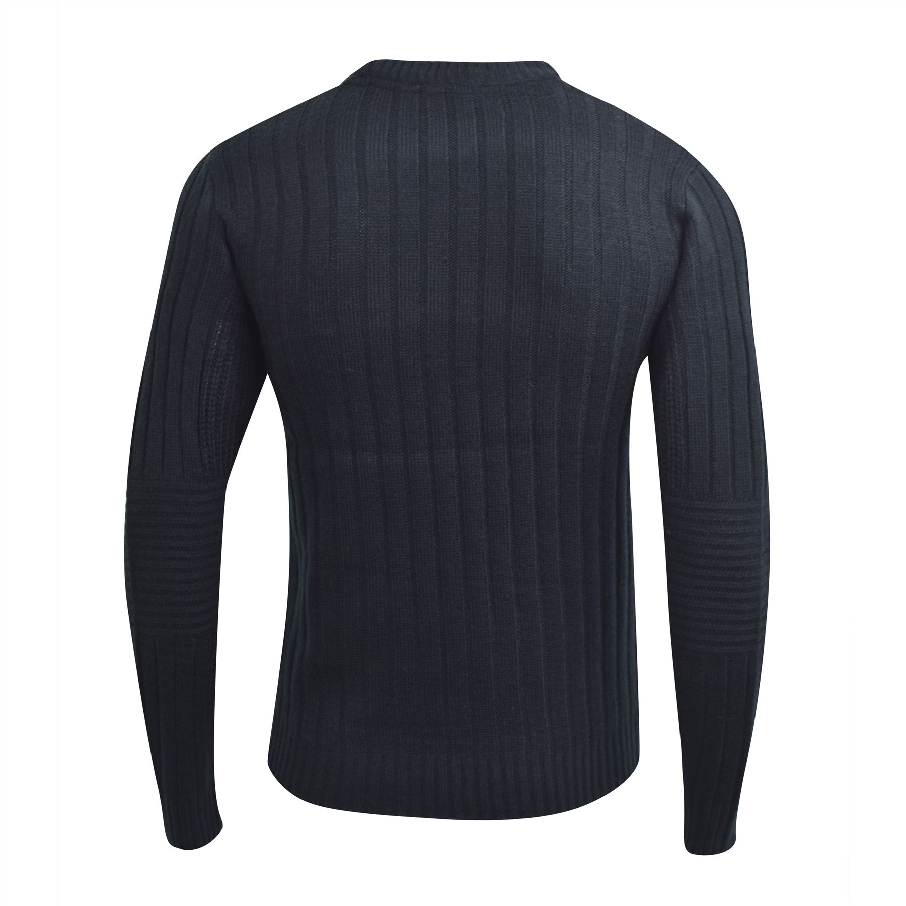 Mens-Knitwear-Crosshatch-Sweater-Textured-Knitted-Jumper thumbnail 5