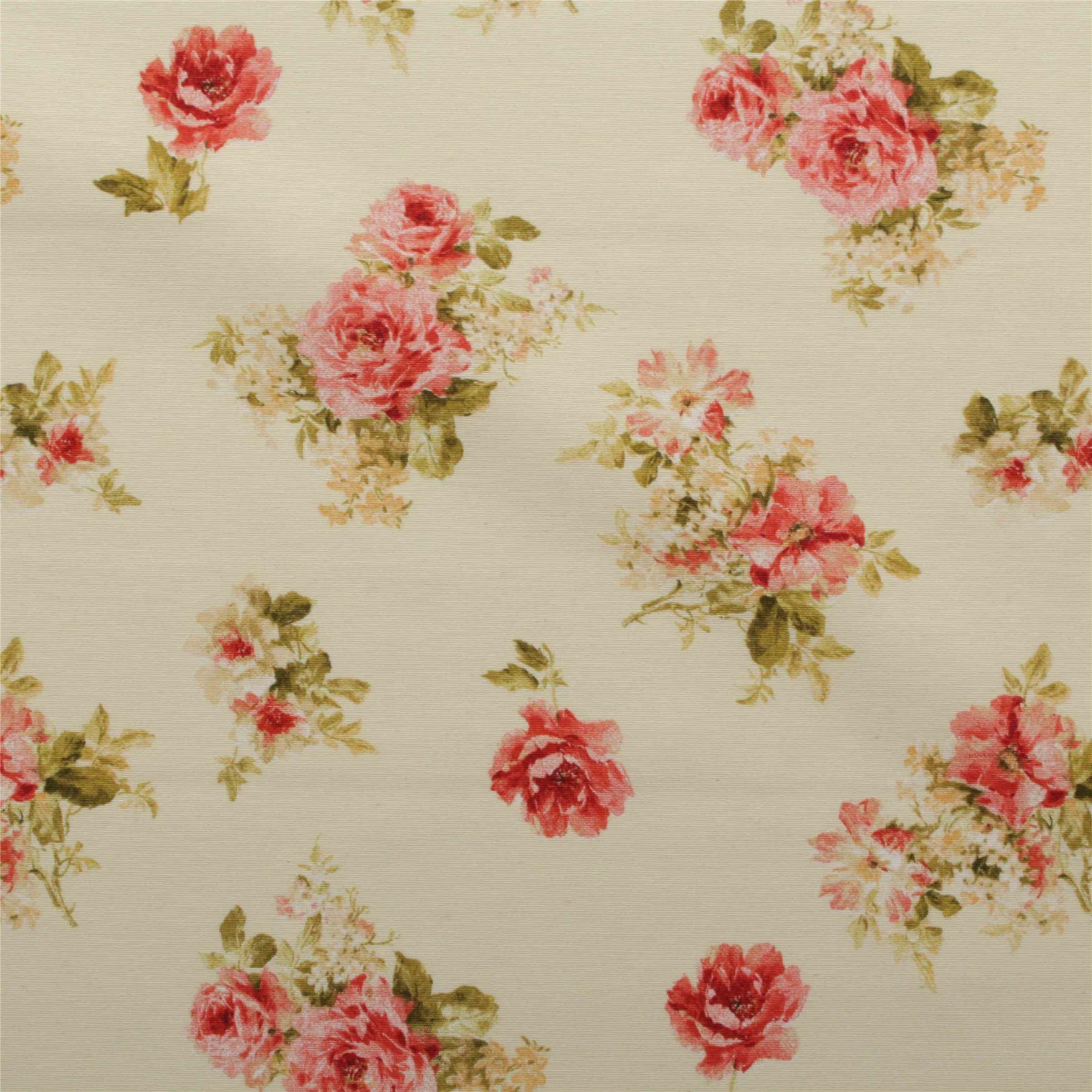 Vintage chintz shabby roses print retro 100 cotton for Retro fabric