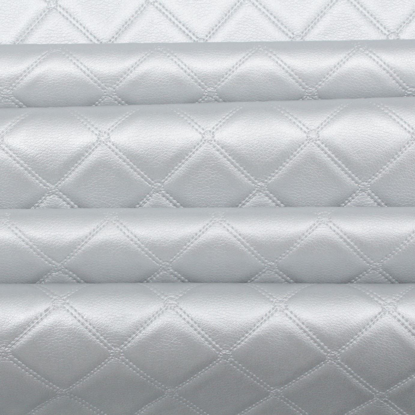 Car White Stitching Diamond Quilted Black Faux Leather Upholstery Fabric 1MX1.5M