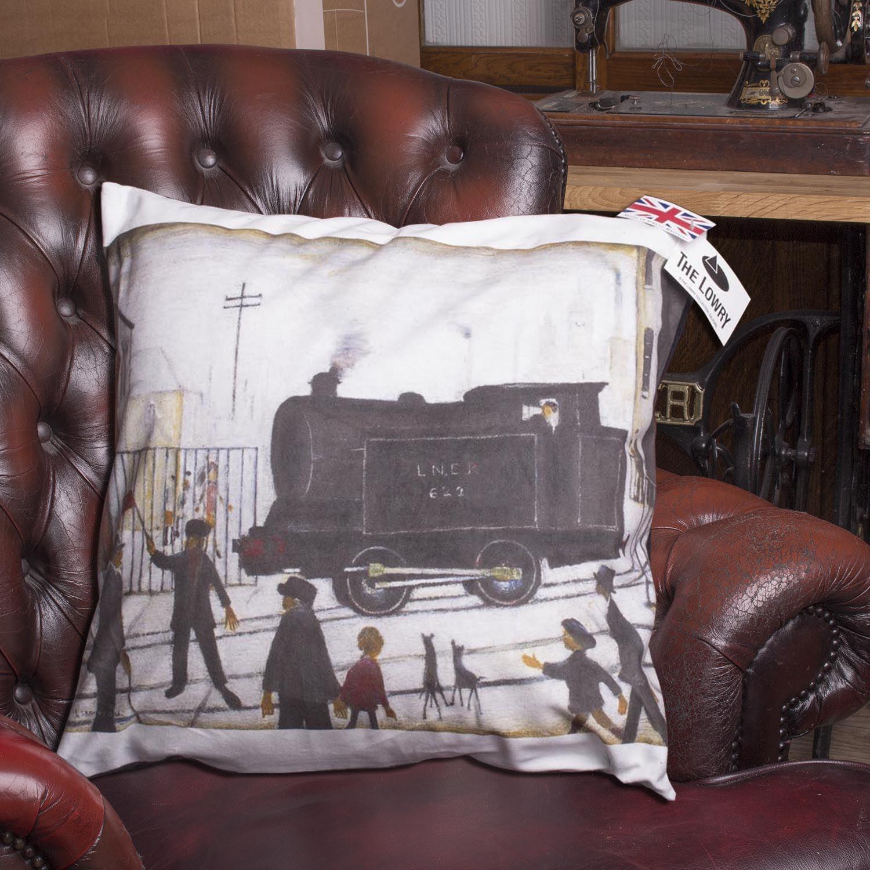 L S LOWRY Artwork Salford Art Painted Velvet Feel Sofa Cushion