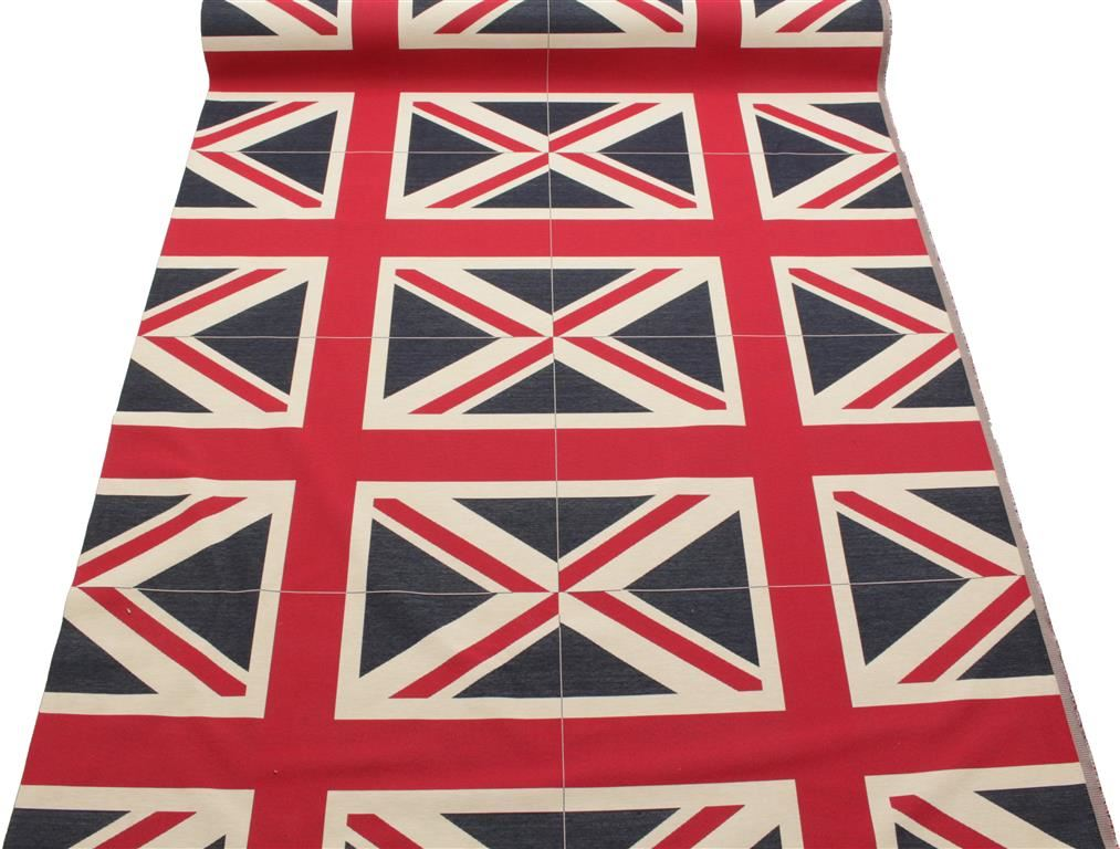 union jack flagge retro schwer leinen optik polster baumwolle kissen panel stoff ebay. Black Bedroom Furniture Sets. Home Design Ideas