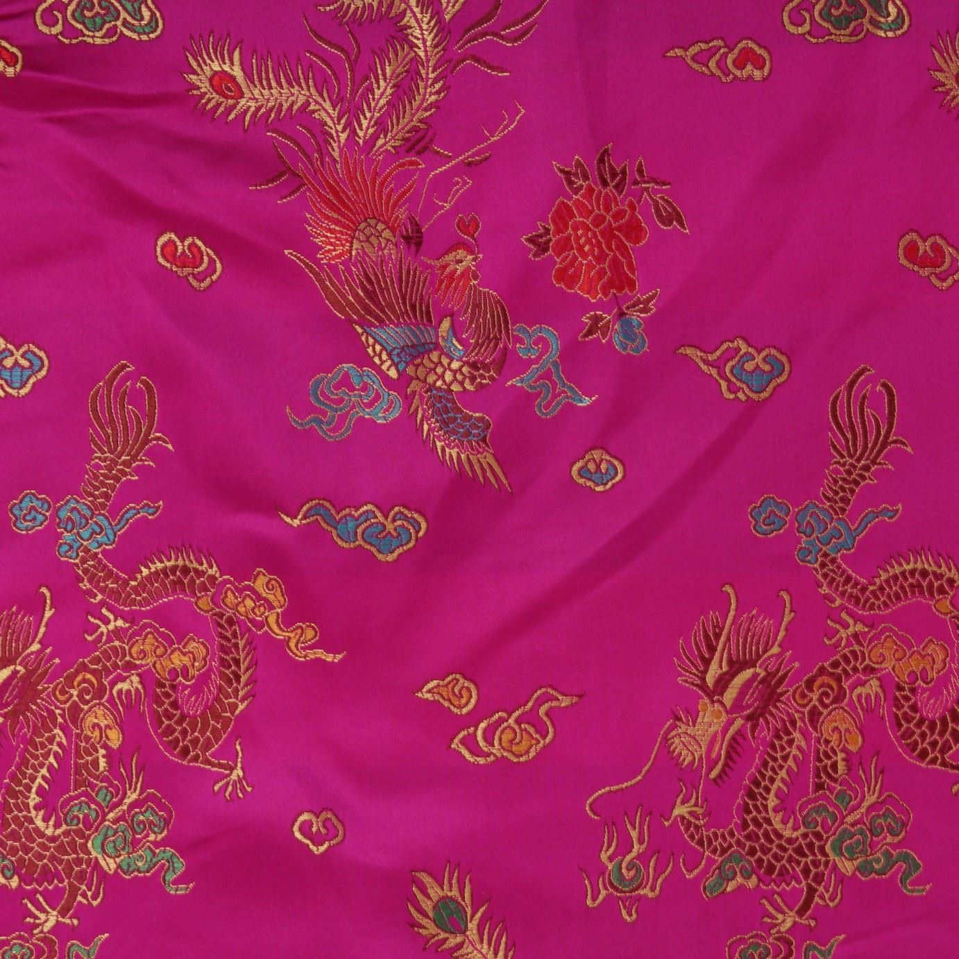 Chinese oriental gold dragon embroidered brocade silky for Dressmaking fabric