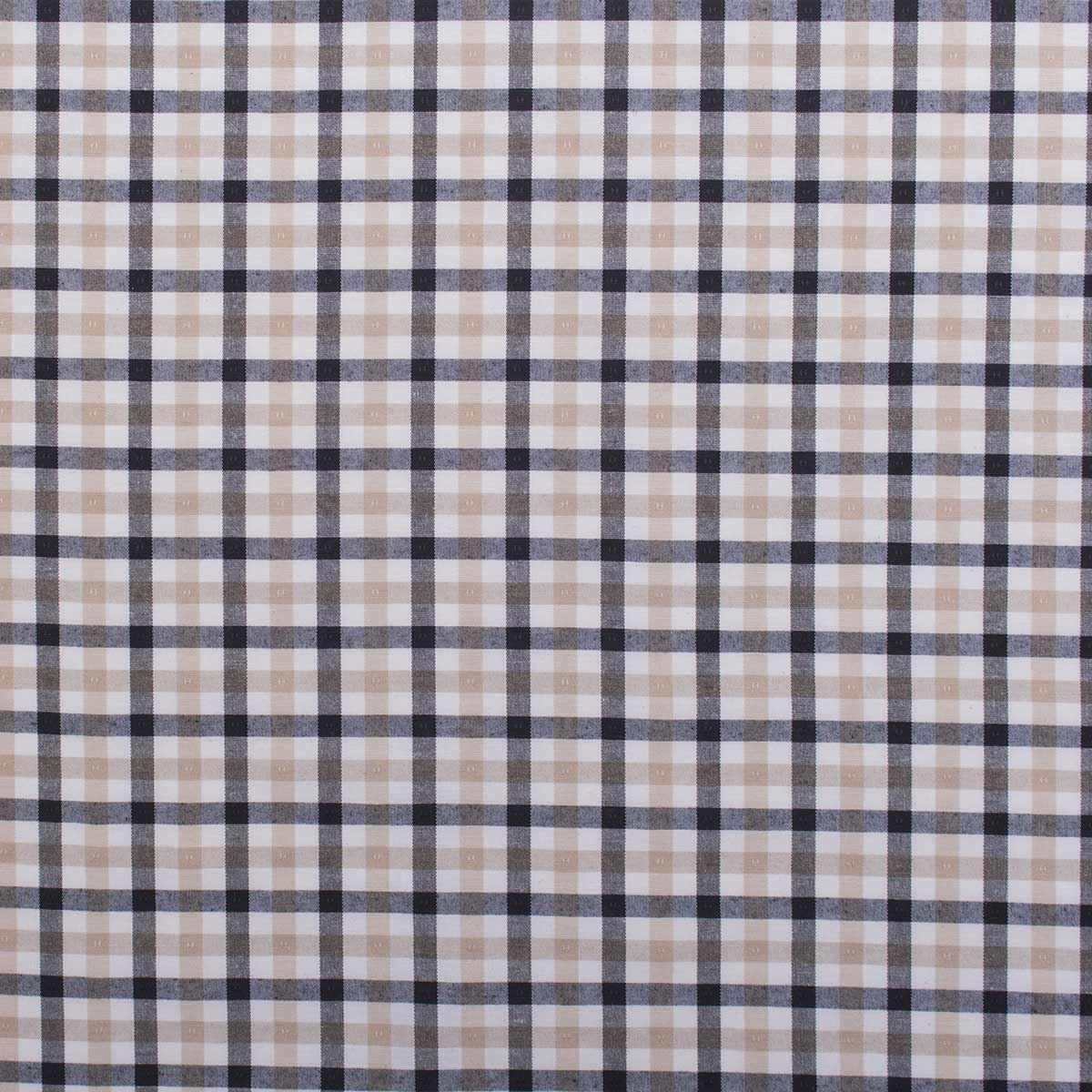 Brewster Check Tartan Black White And Beige Plaid Cotton Look