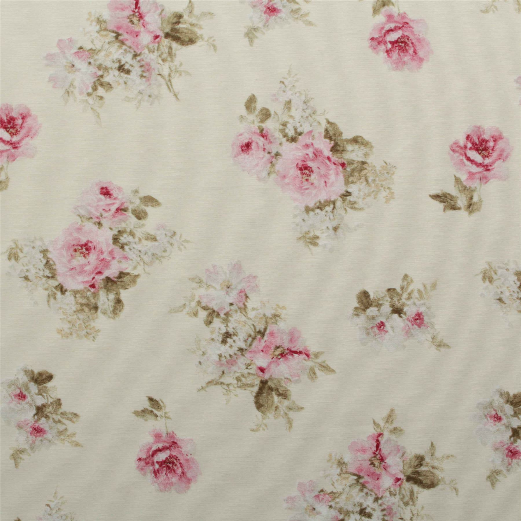 Vintage chintz shabby roses print retro 100 cotton for Chintz fabric
