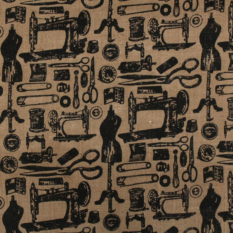 Bedruckt Nähmaschine basteln Vintage rustikal natürlich Sackleinen ...