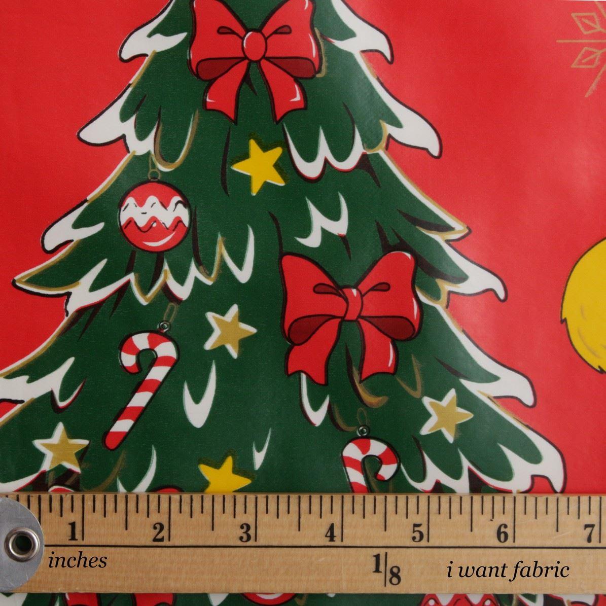 Christmas Pvc Oilcloth Vinyl Fabric Xmas Kitchen Table