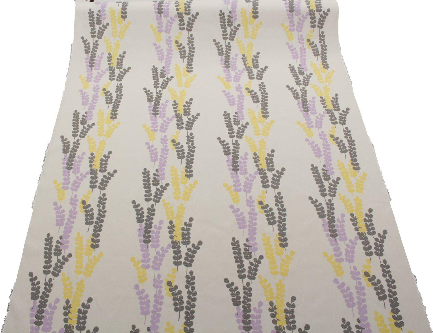 Fabulous Purple and Yellow 100% Cotton Floral Metro Stripe Designer  DE57