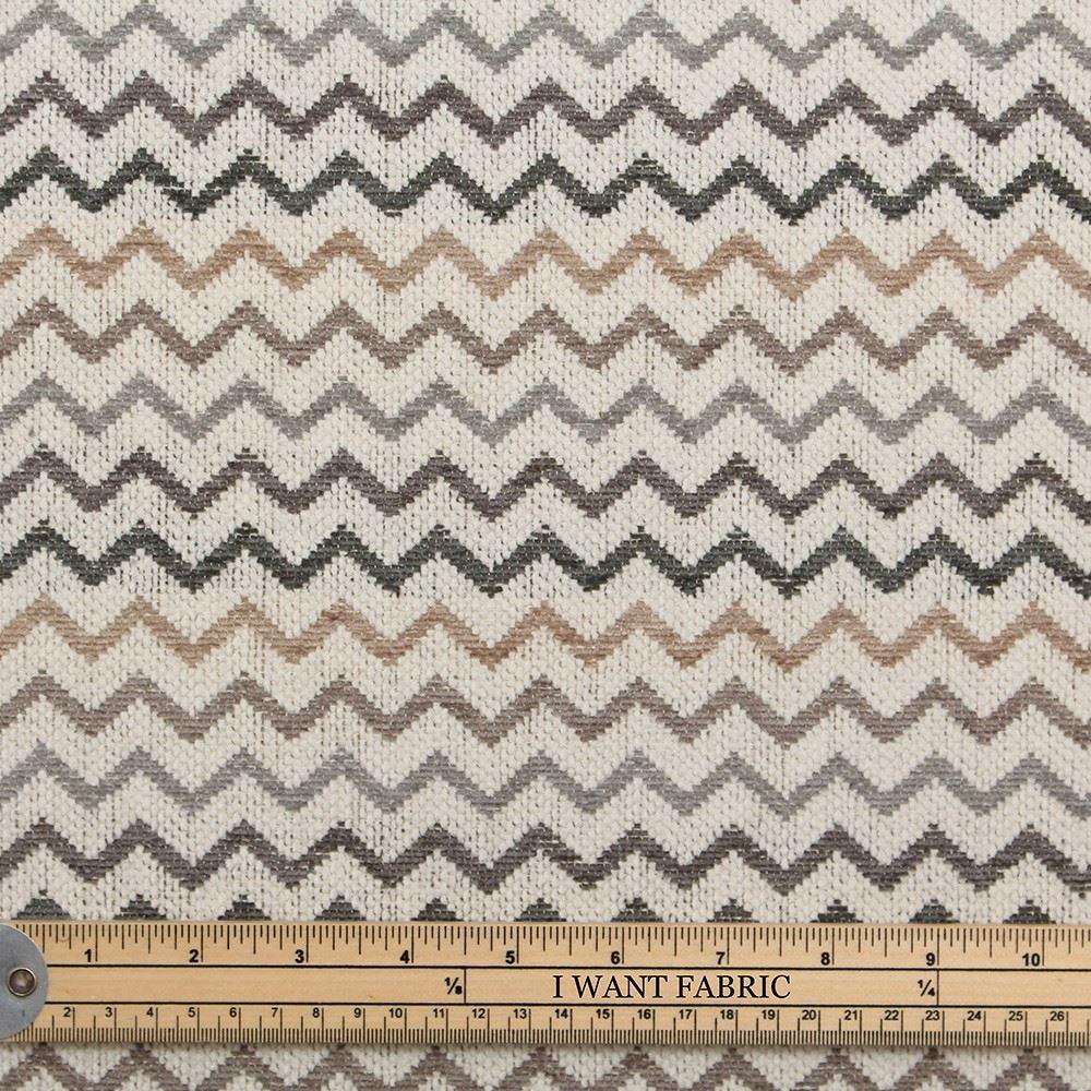 Next Fabrics Natural Grey Fawn Chevron Zig Zag Striped