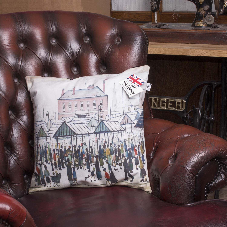 L S LOWRY Artwork Salford Art Painted Pillow Velvet Feel Sofa