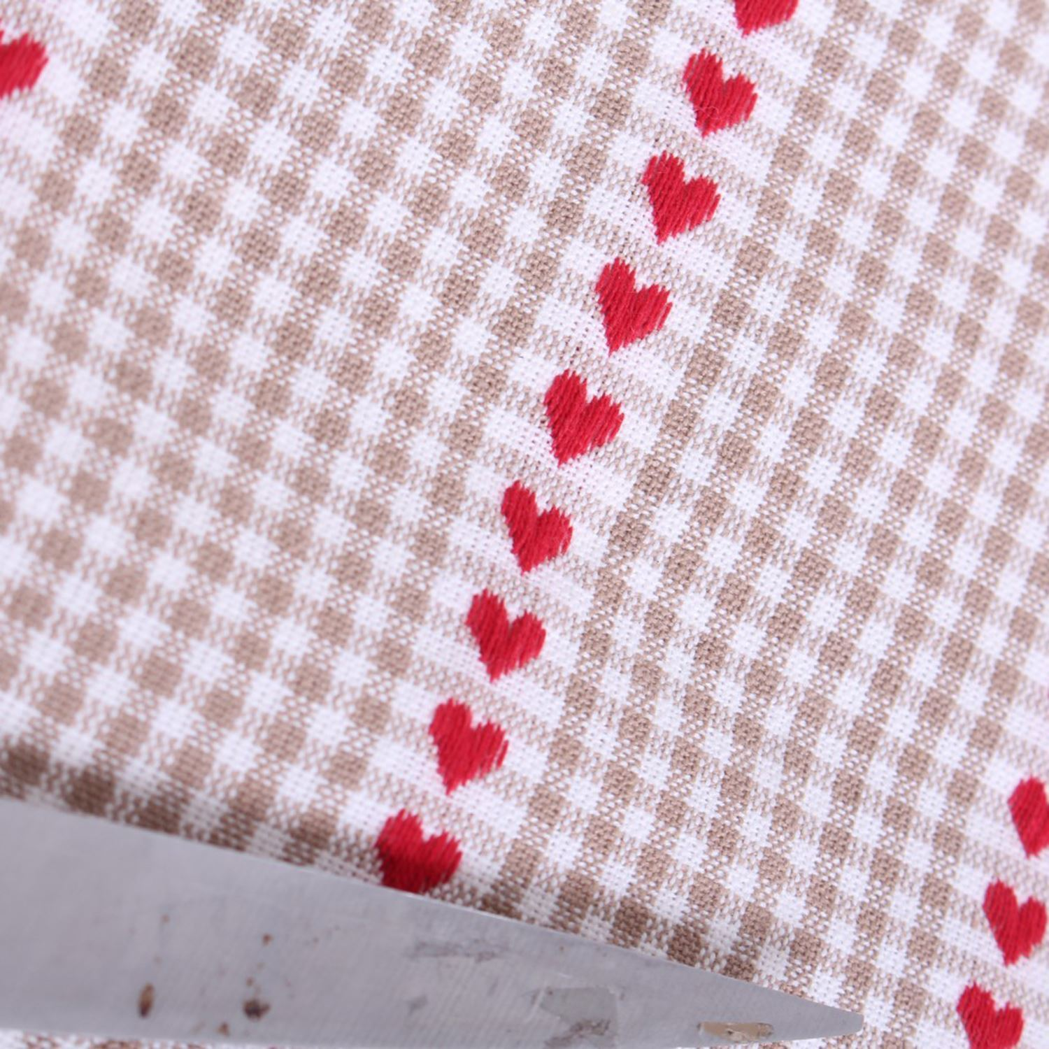 Gingham hearts woven texture curtain cushion light for Gingham fabric