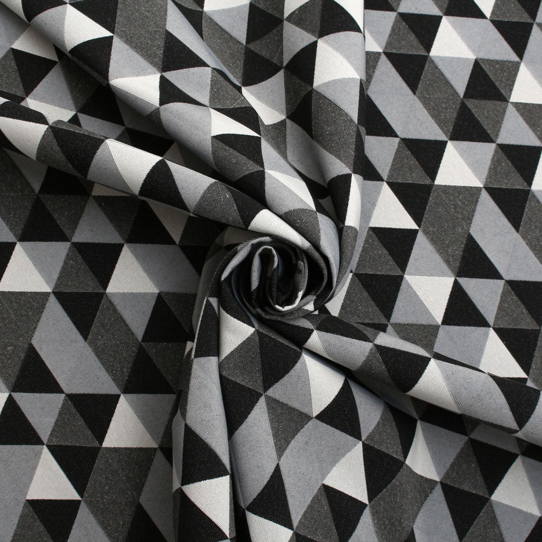 Double Sided Black White Jacquard Geometric Animals Curtain