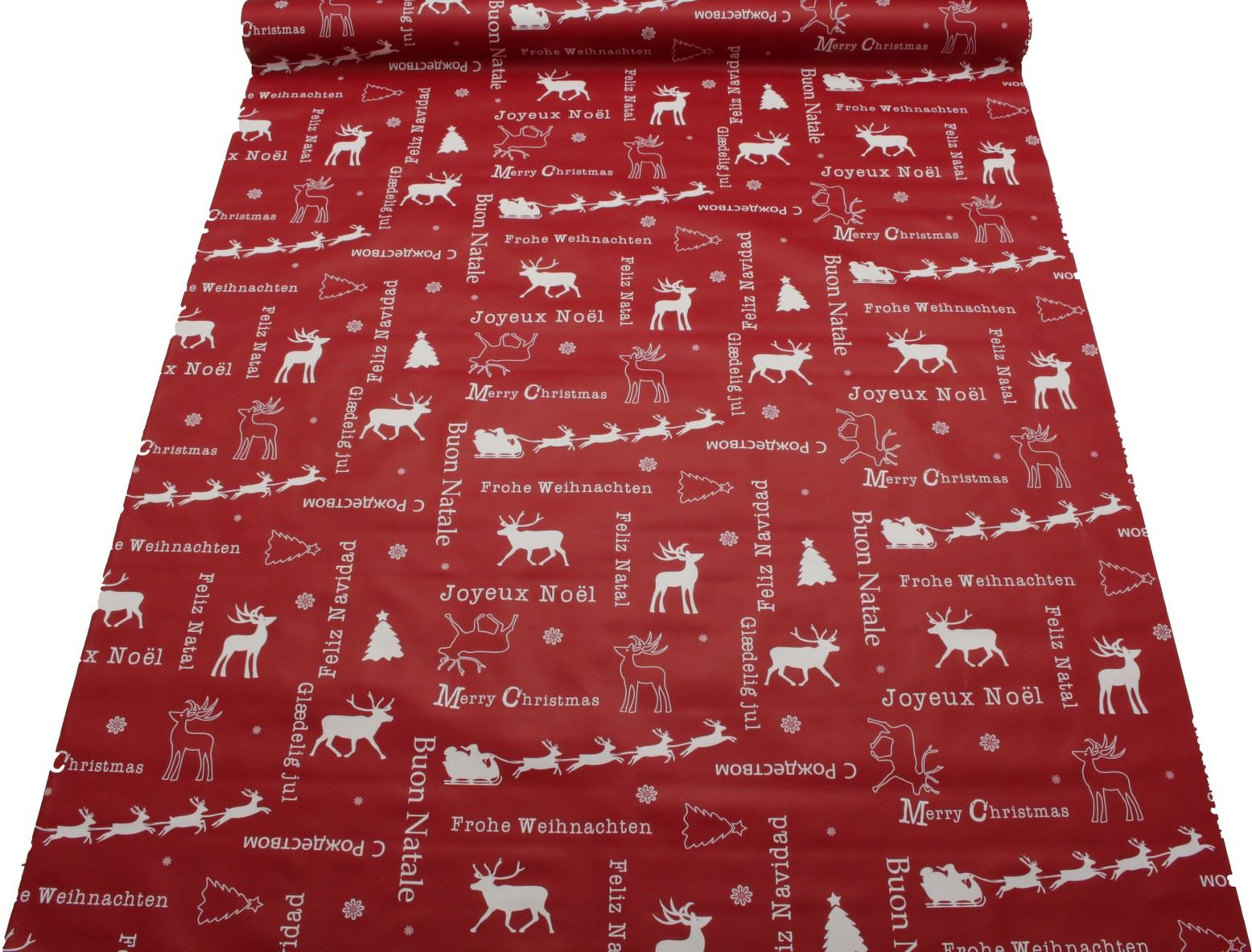 thumbnail 23 - CHRISTMAS PVC OILCLOTH VINYL FABRIC XMAS KITCHEN TABLE WIPECLEAN TABLECLOTHS