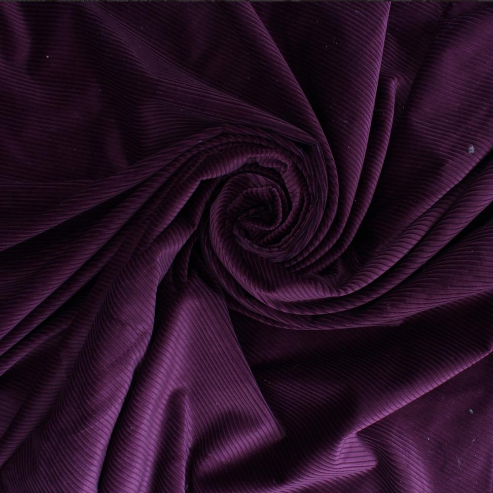 Furnishing Upholstery Fabric High Low Soft Velvet Textured Cord Aubergine Colour