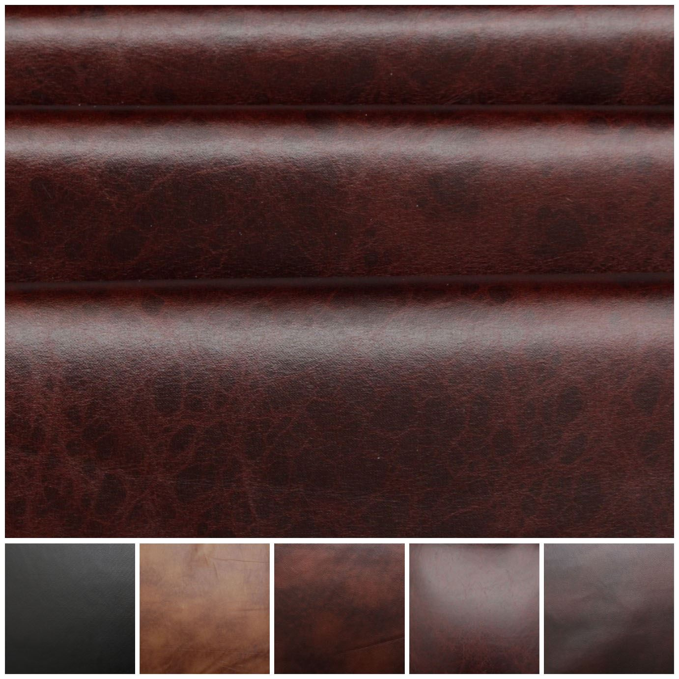 Distress Antique Aged Brown Fire Retardant Faux Leather Upholstery