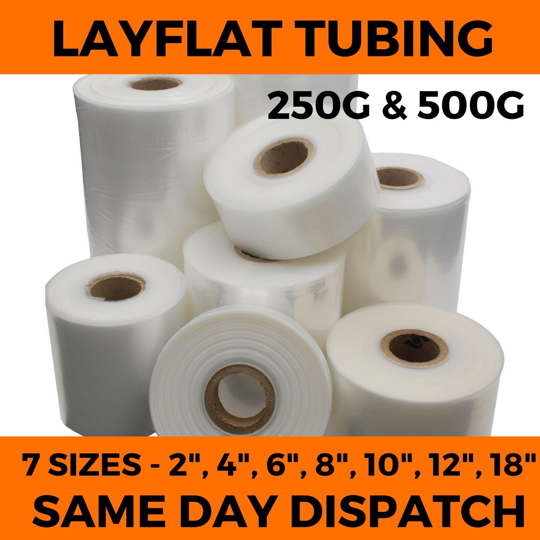 "500 GAUGE LAYFLAT POLYTHENE PLASTIC TUBING 3 ROLLS OF 3/"" WIDE x 168M"